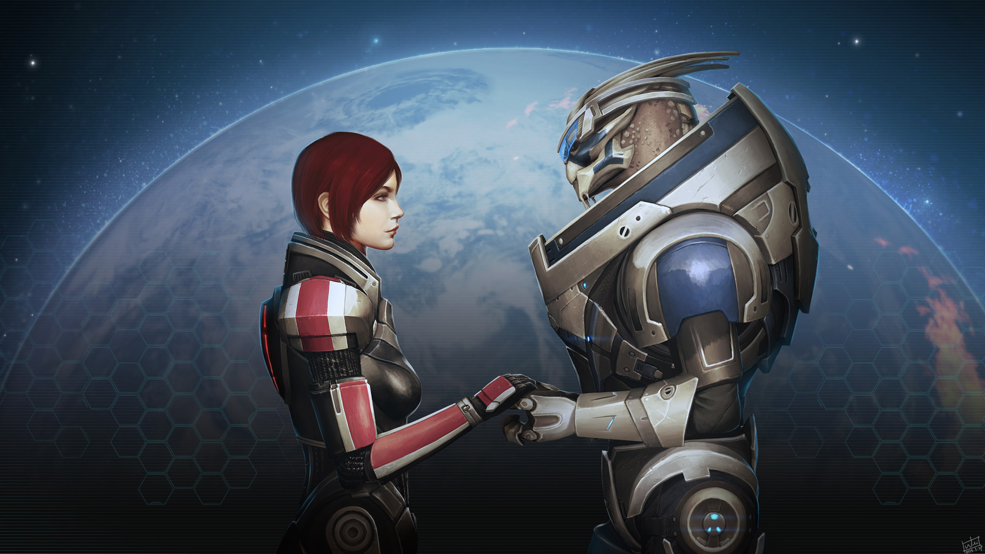 """Garrus and FemShep are an overwhelmingly popular romance choice. Image is  """"I'm"""