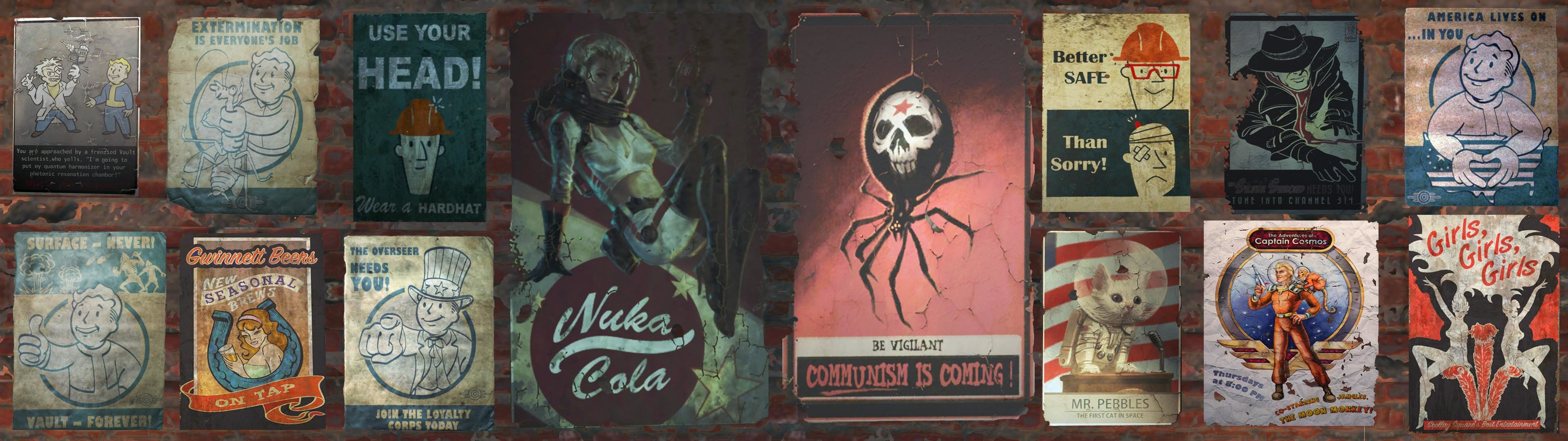 I made a dual screen wallpaper out of some of the posters that I  have come across in the wasteland.