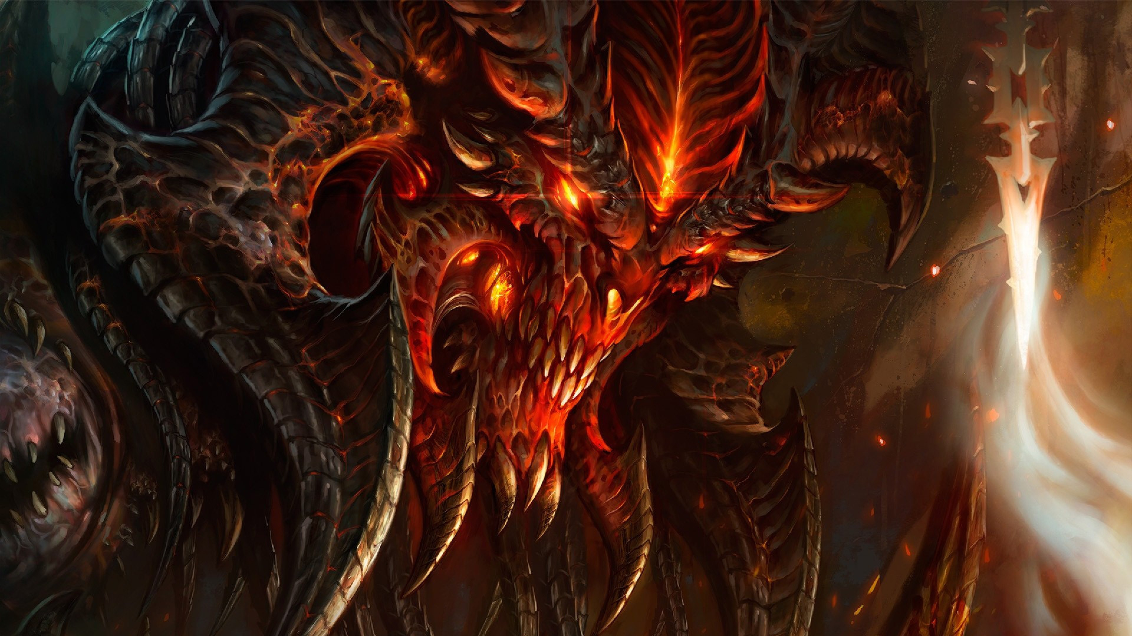 Preview wallpaper diablo 3, diablo, character, fire, monster, light, face