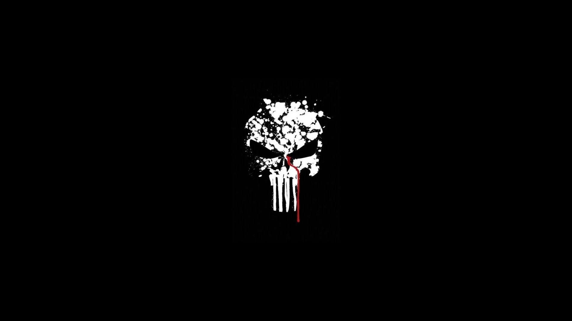 The Punisher Skull, Black Background (1080p) – Wallpaper .