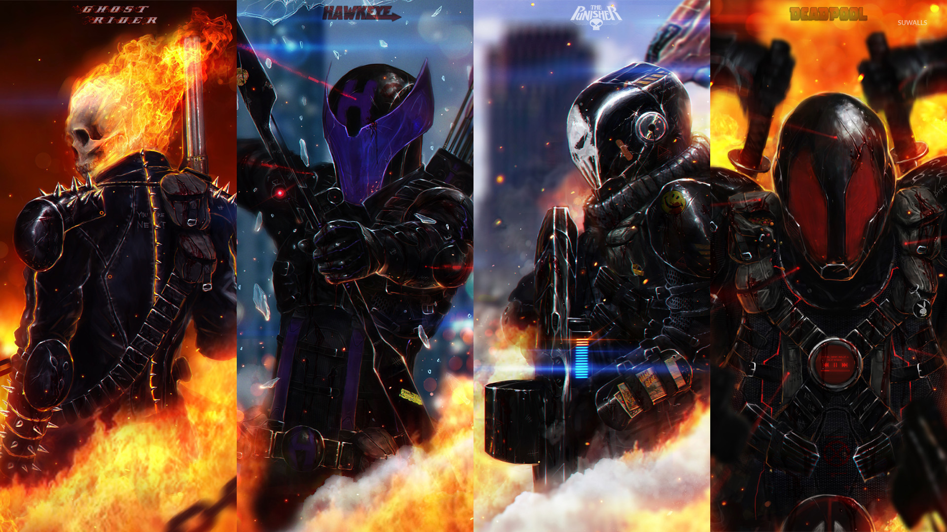 Ghost Rider, Hawkeye, The Punisher and Deadpool wallpaper jpg