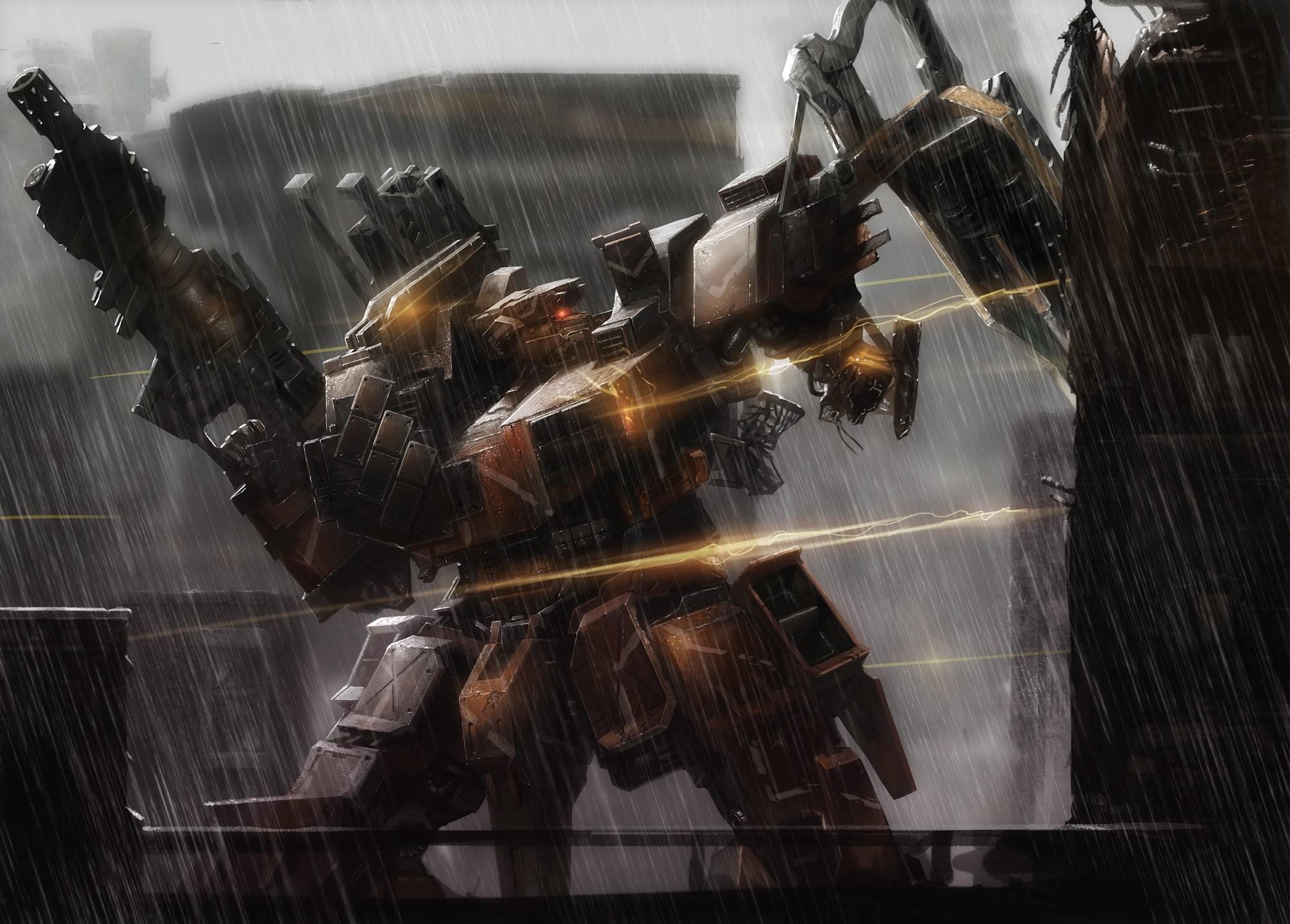 Armored core cecetiv gun mecha rain water weapon wallpaper      422829   WallpaperUP