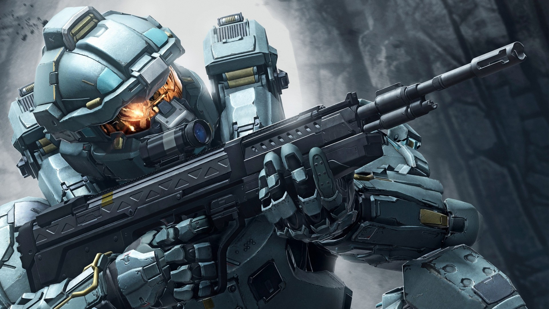 Preview wallpaper halo 5, soldiers, weapons, automaton 1920×1080