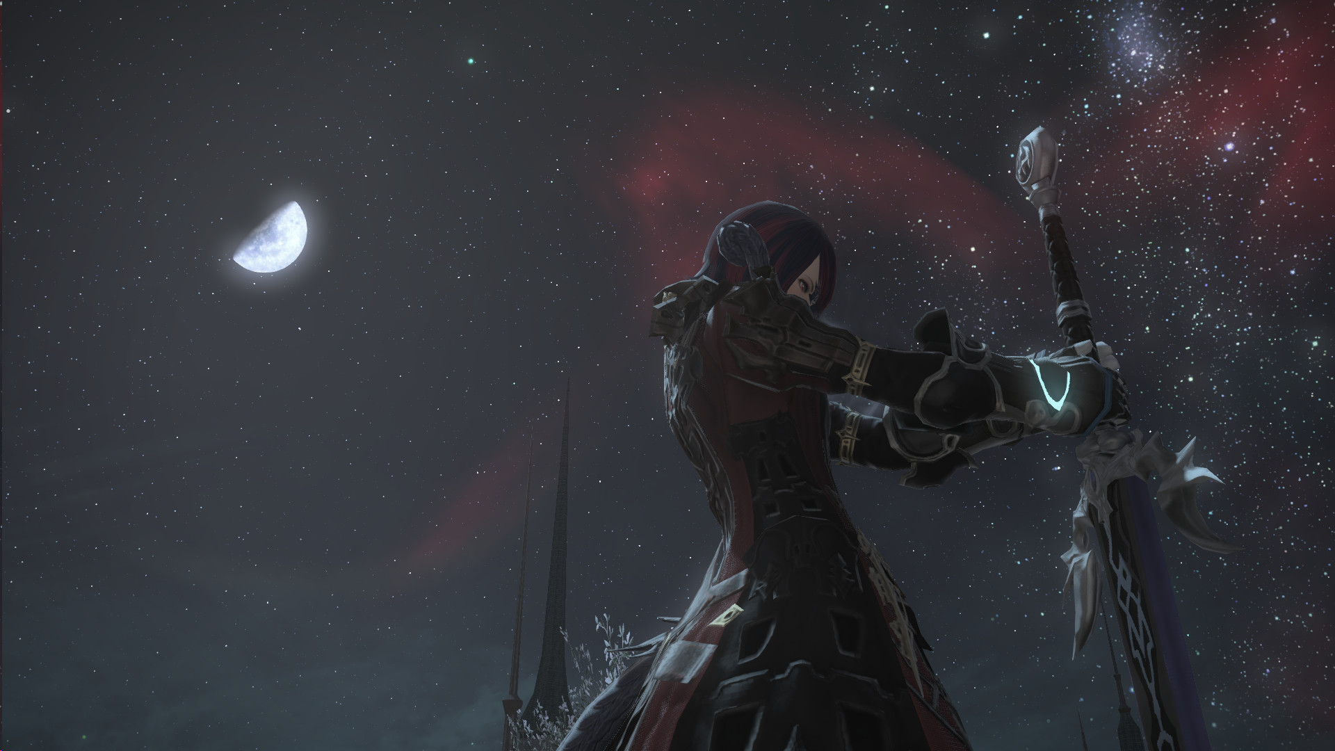 Dark Knight's Pose and Ishgard's Night sky gives really good photo  opportunities! : ffxiv