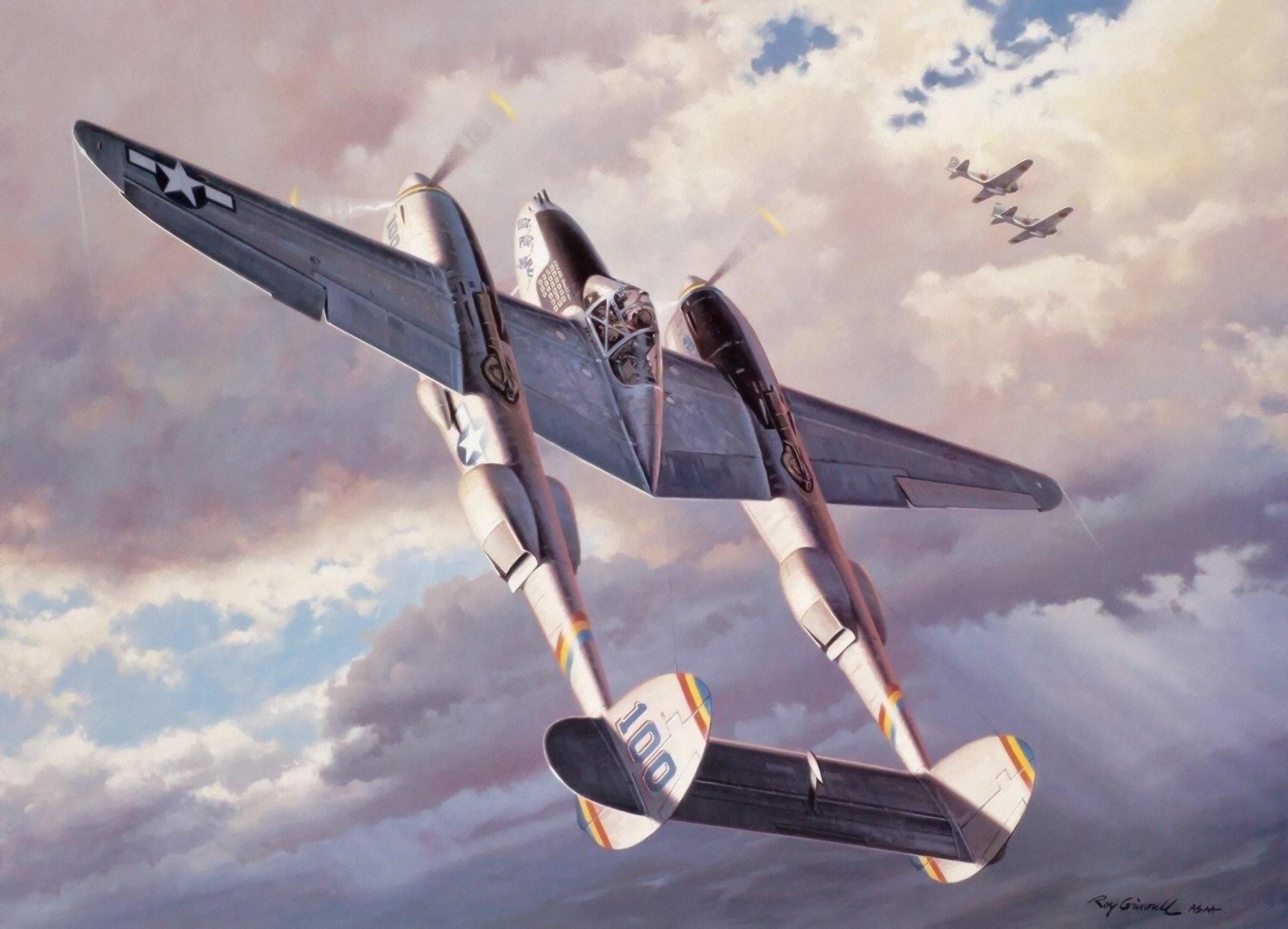 ww2 war art aviation fighter airplane painting p38 lightning wallpaper .