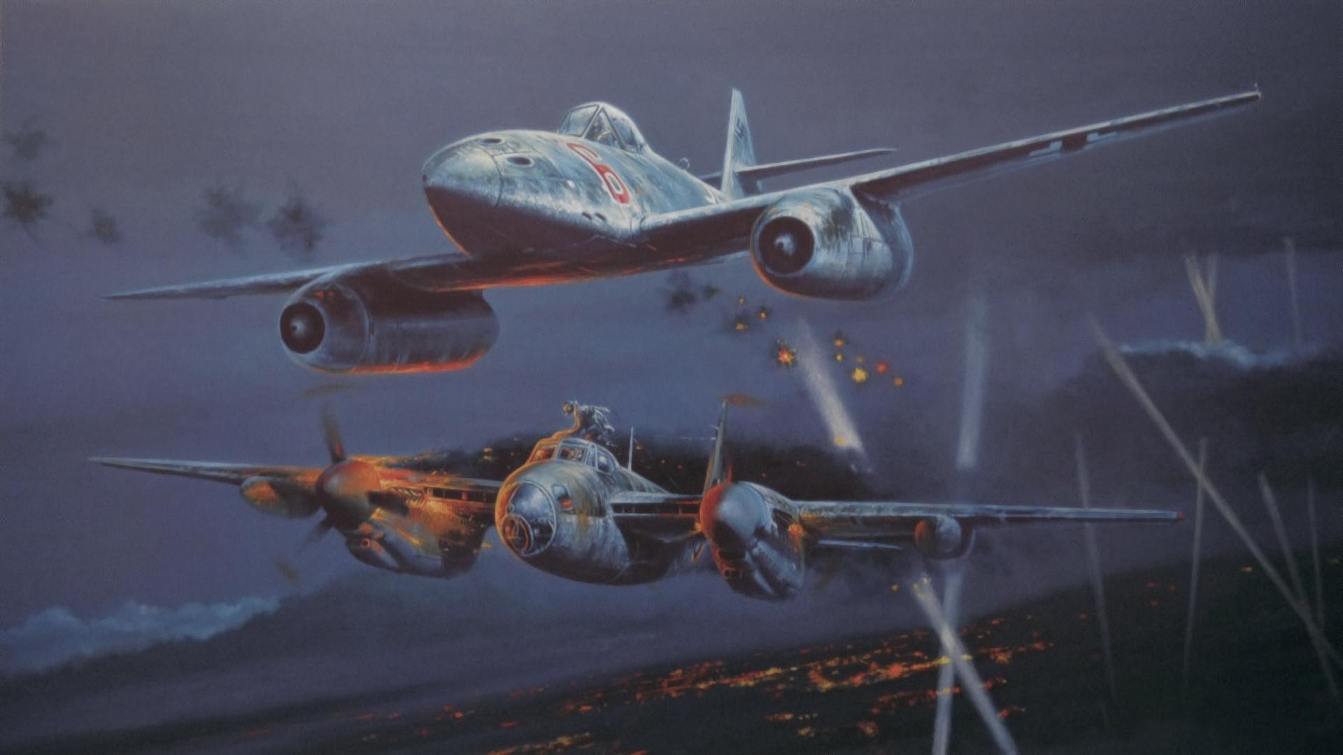 De Havilland Mosquito Night Fighter attacked by Messerschmitt Me 262