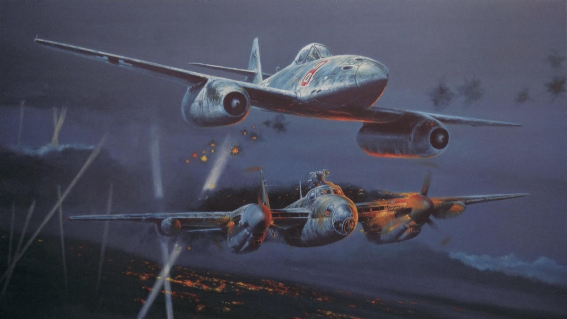 artwork, Aircraft, Military, World War II, Messerschmitt Me 262, De  Havilland