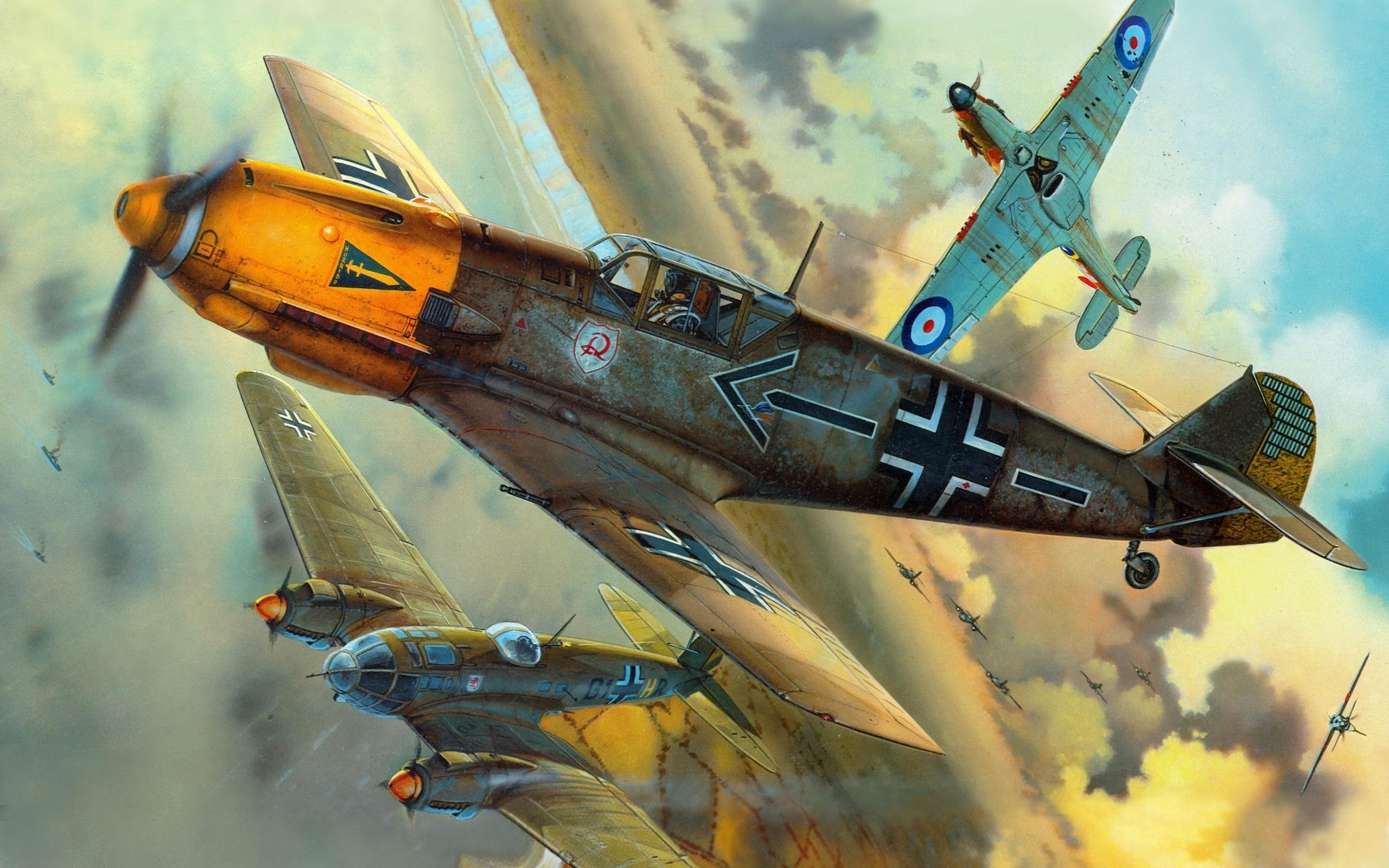 Messerschmitt, Messerschmitt Bf 109, Luftwaffe, Aircraft, Military,  Artwork, Military Aircraft, World War II, Germany, Heinkel, Heinkel He 111,  …