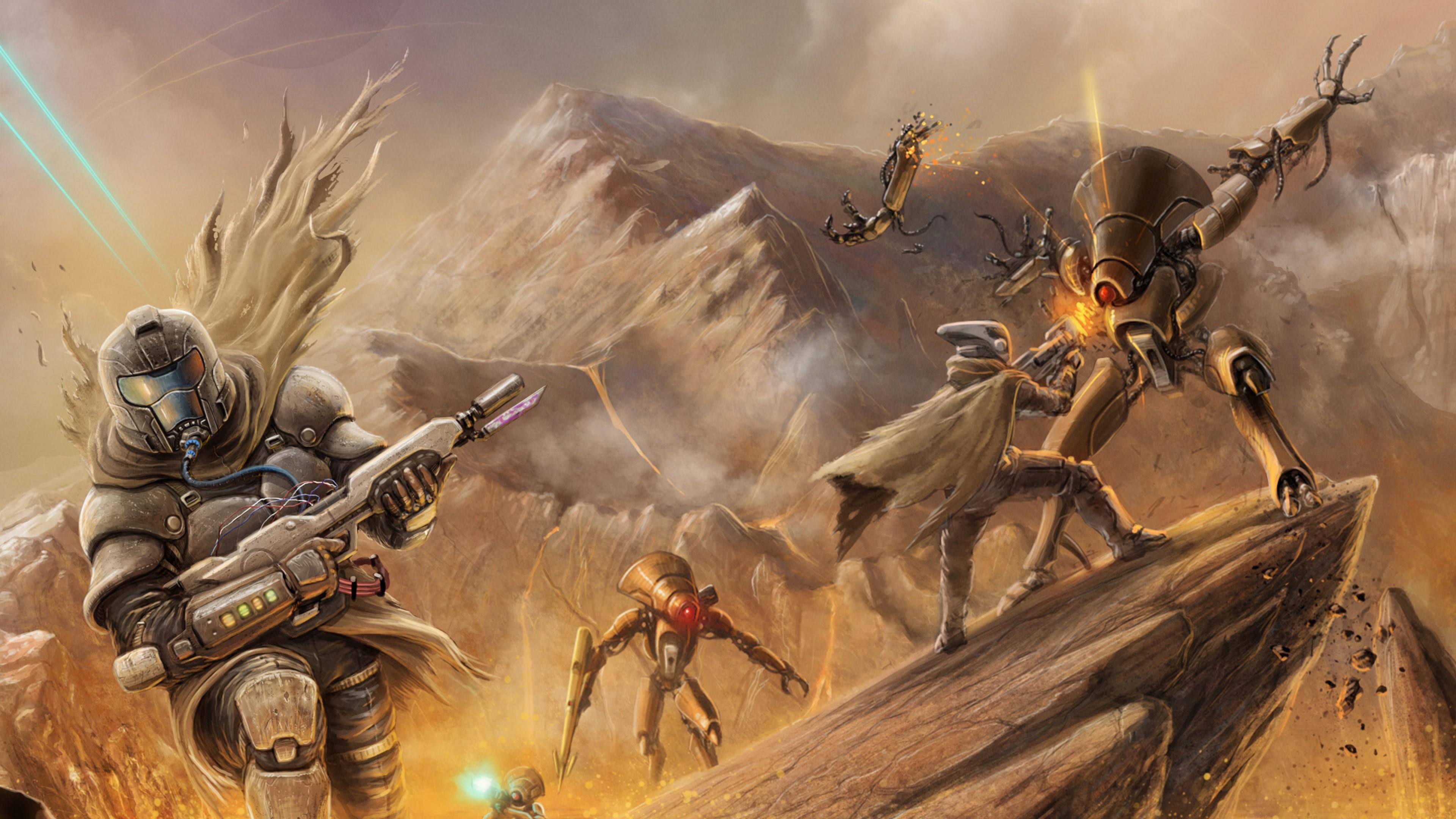 Wallpaper destiny, bungie, battle, robots, soldiers, weapons,  rocks
