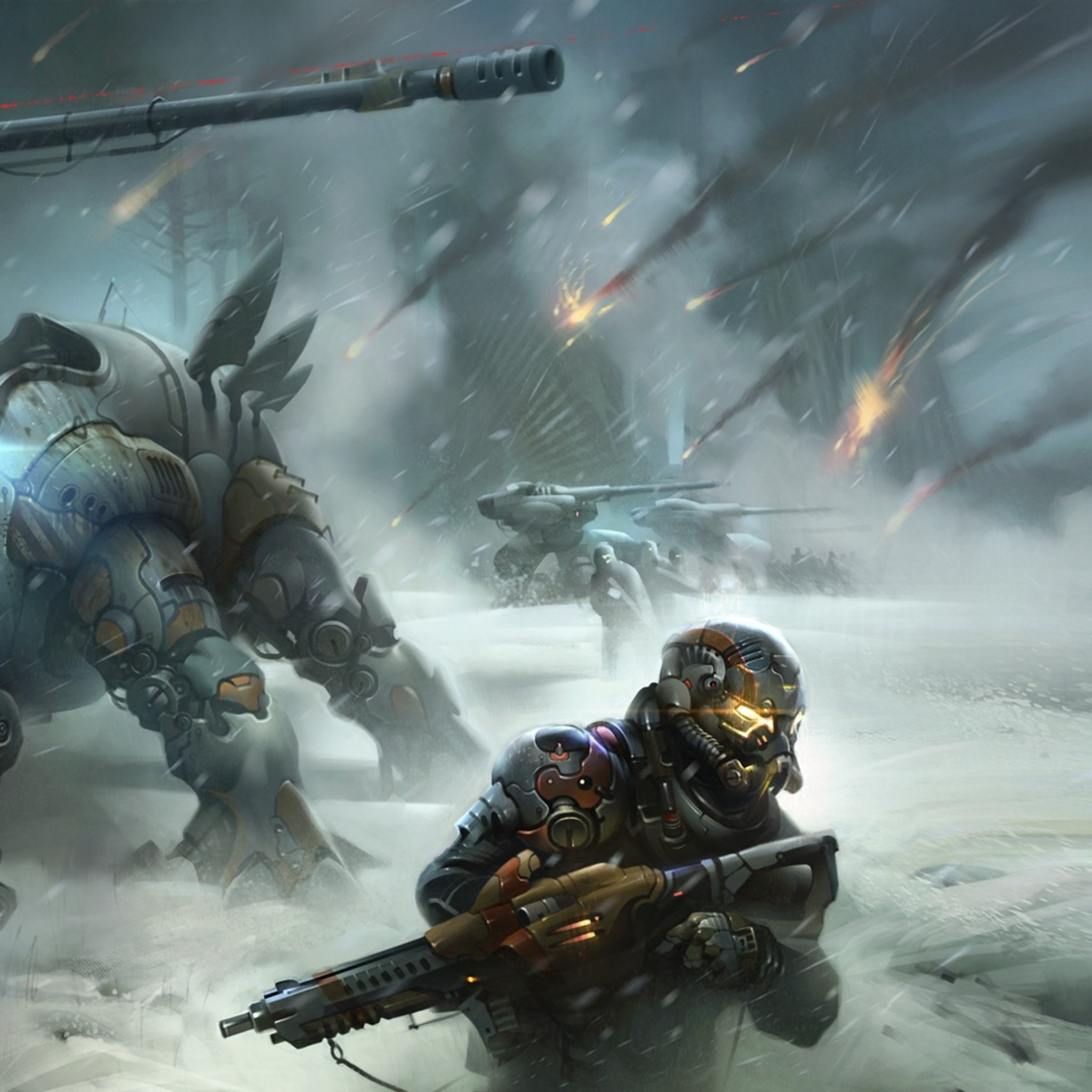 Preview wallpaper destiny, soldiers, war, winter 2048×2048