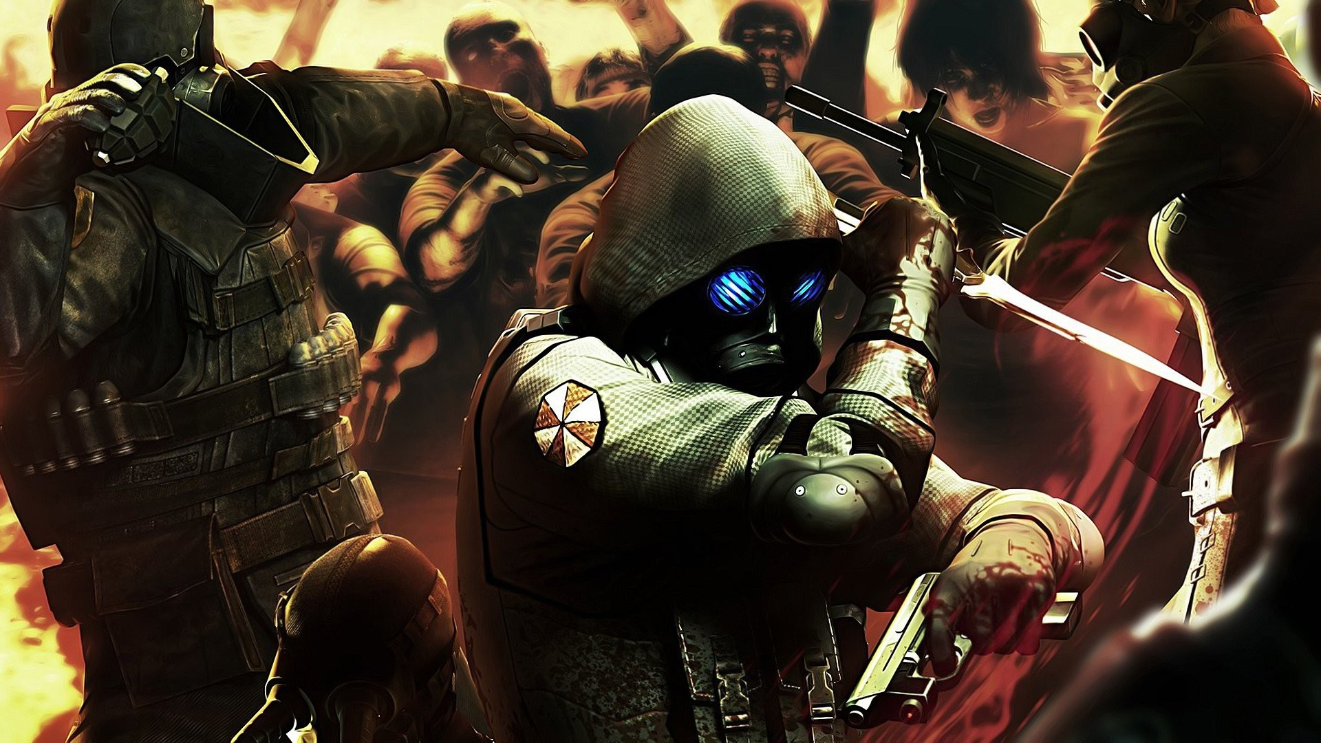 Artwork Knives Pistols Resident Evil Umbrella Corp.