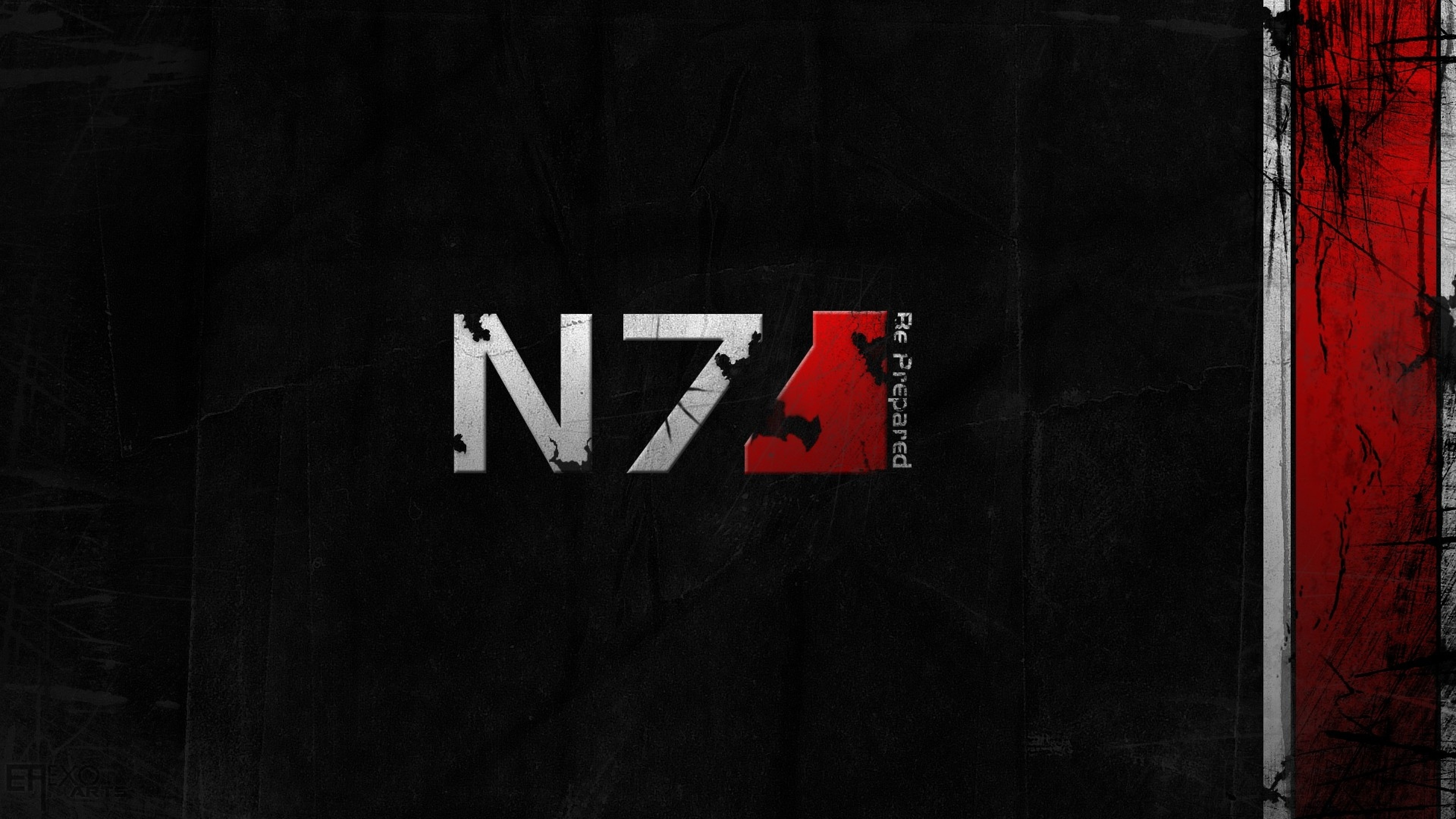 Preview wallpaper mass effect 3, n7, font, graphics, background 3840×2160