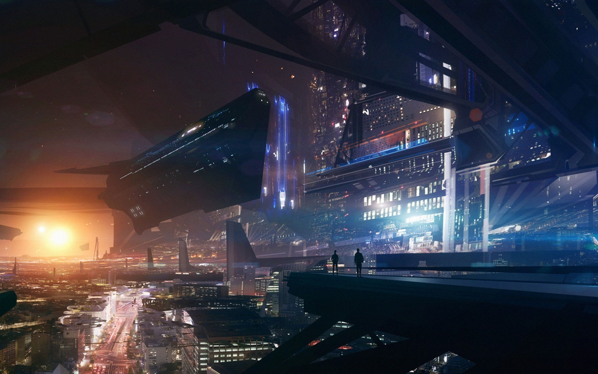 future City, Lights, Space, Futuristic, Spaceship, Fantasy Art, Mass Effect  Wallpapers HD / Desktop and Mobile Backgrounds