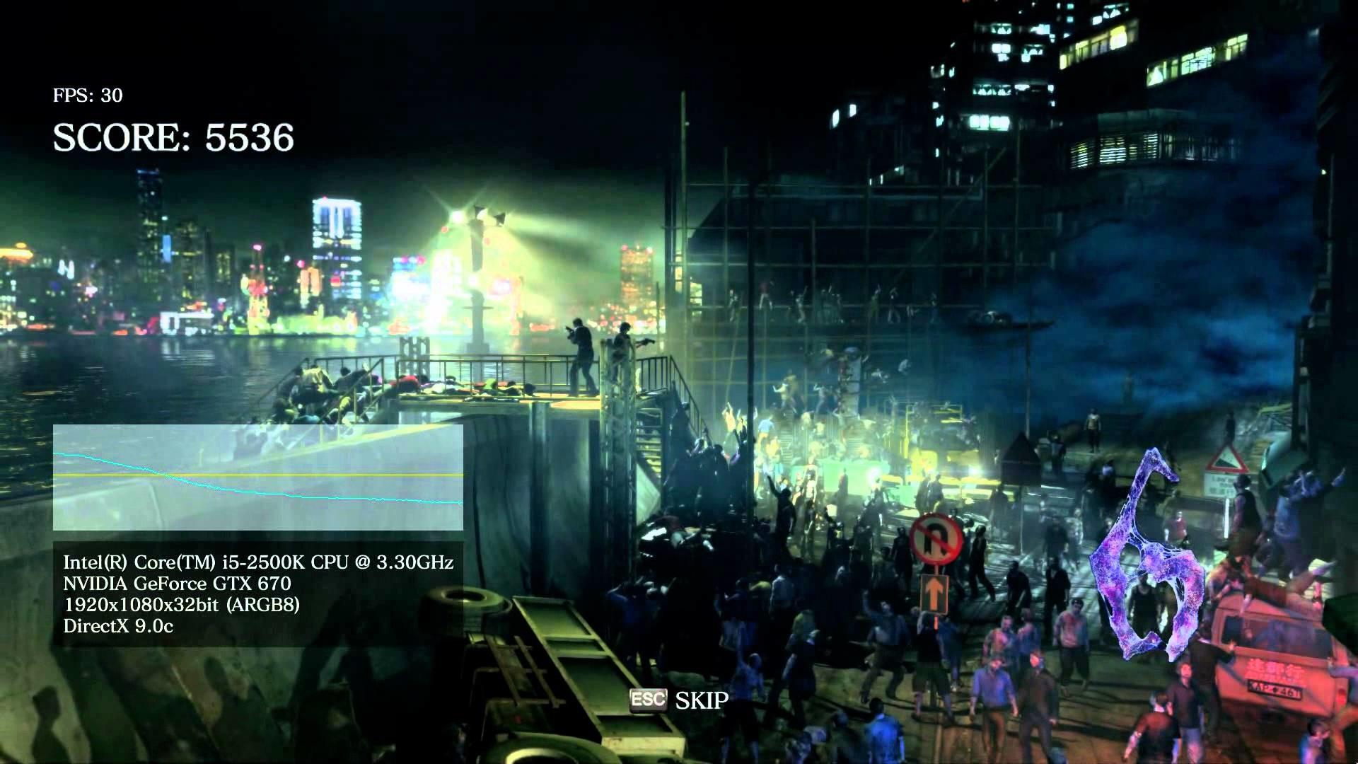 Resident Evil 6 PC Benchmark Maxed 1080p GTX 670 FTW