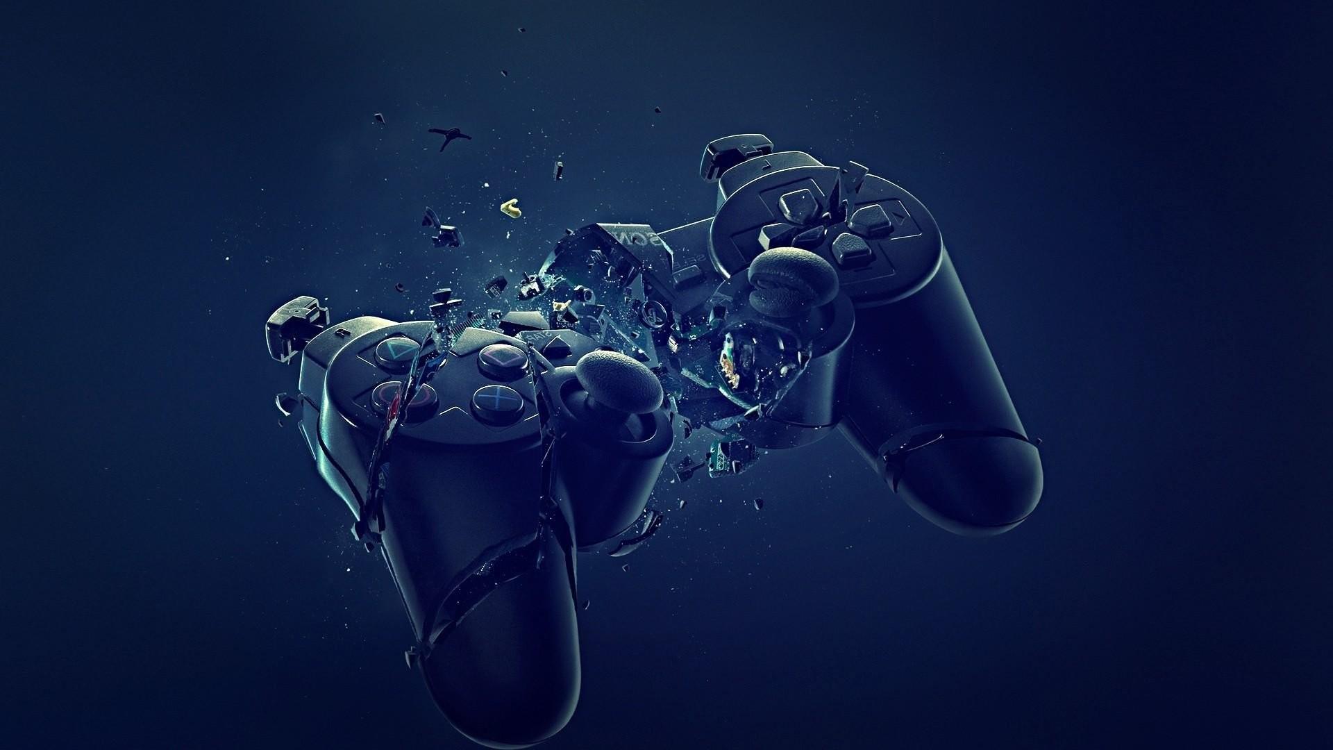 Abstract blue black dark broken PlayStation joysticks controller wallpaper      301242   WallpaperUP