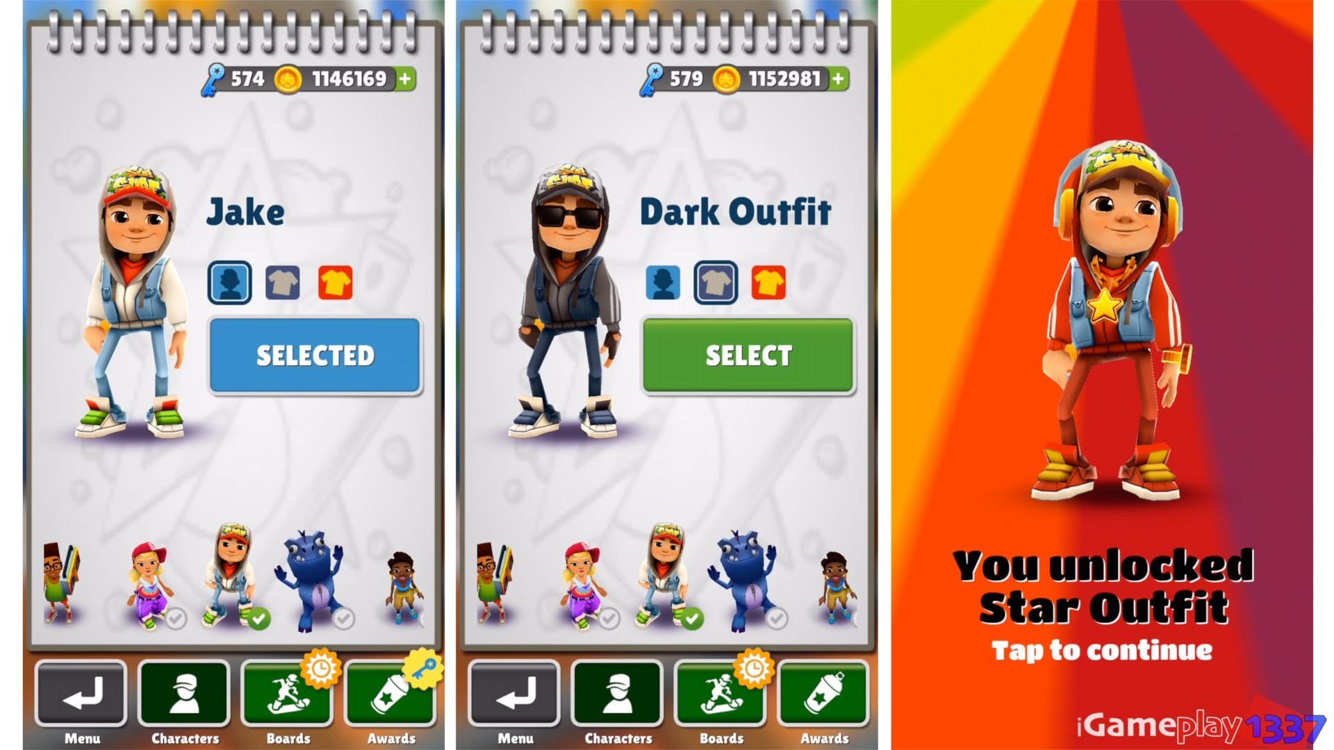 Subway Surfers – JAKE vs DARK vs STAR OUTFIT – Characters Review .
