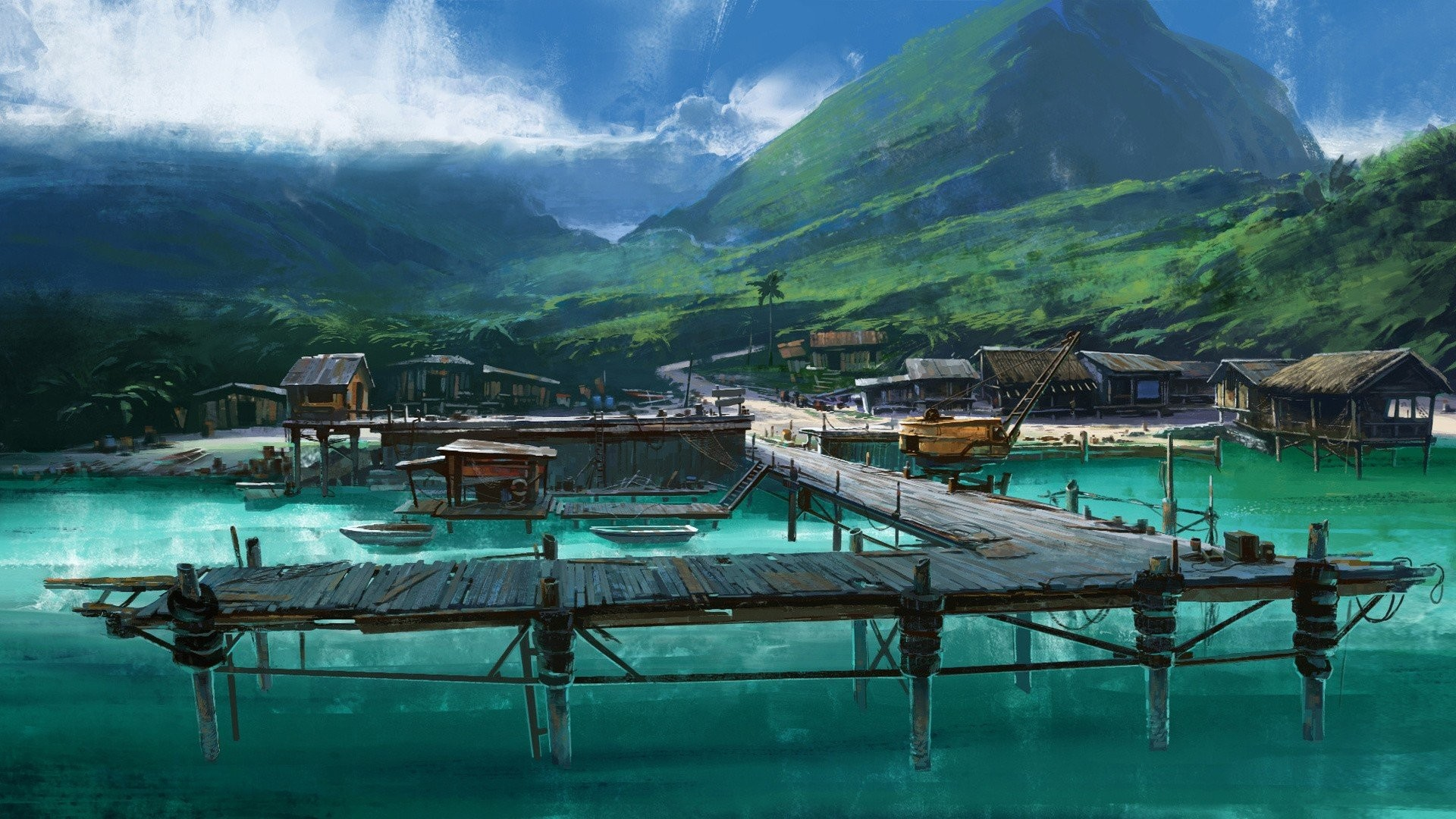 Artwork Boats Dock Drawings Far Cry 3 Landscapes Mountains Sea Tropical  Vehicles