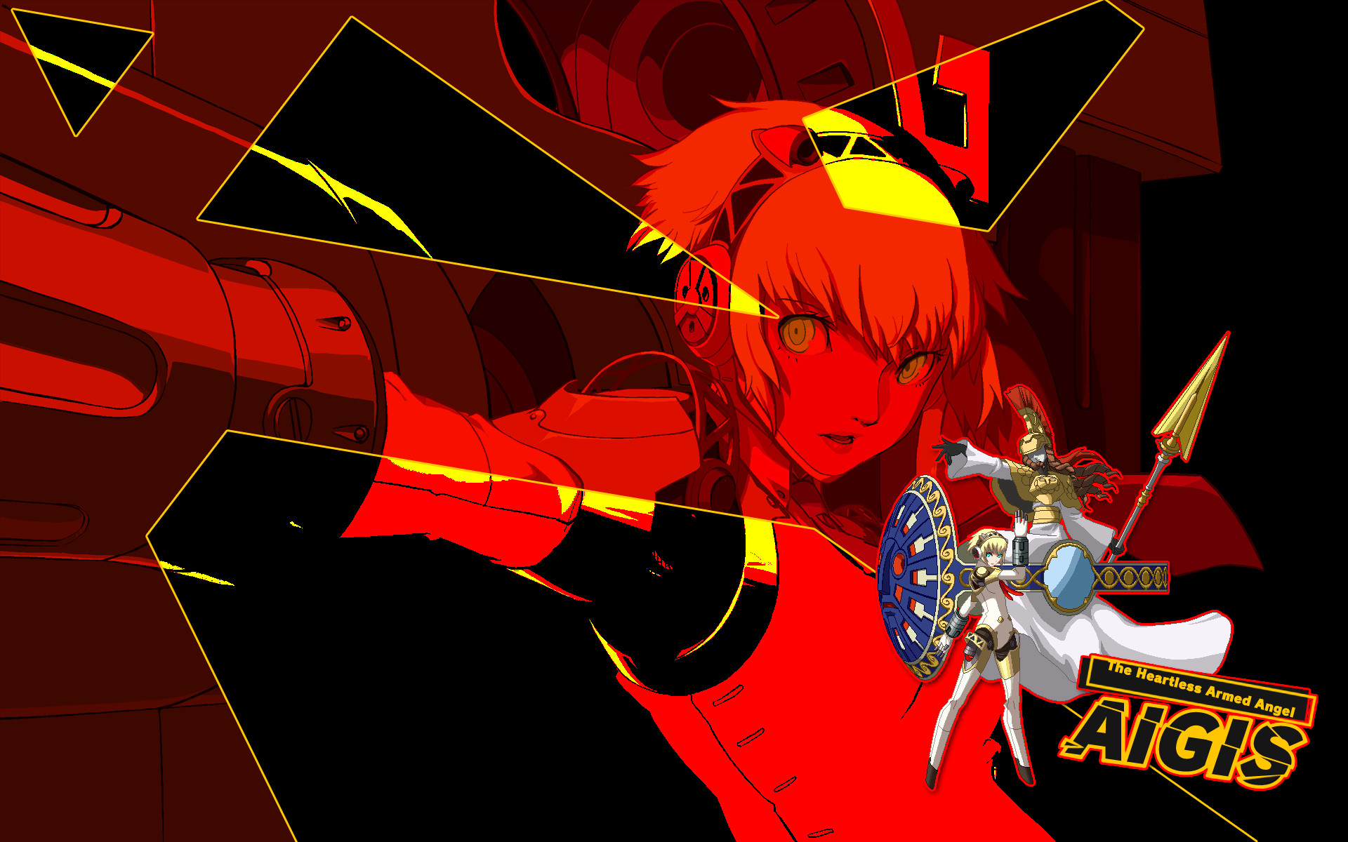 Aigis: Her fingers are GUNS, her eyes are SIGHTS!