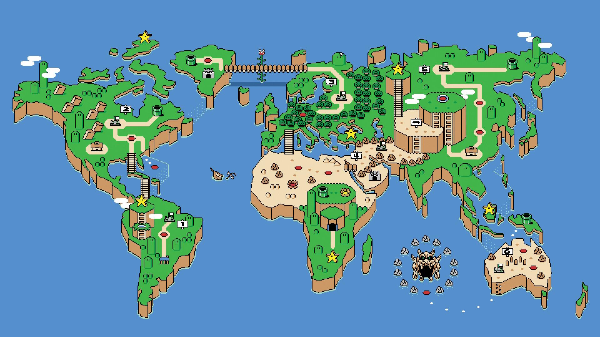 Luigi Mario NES Pixel Art Retro Games Super World Video Map