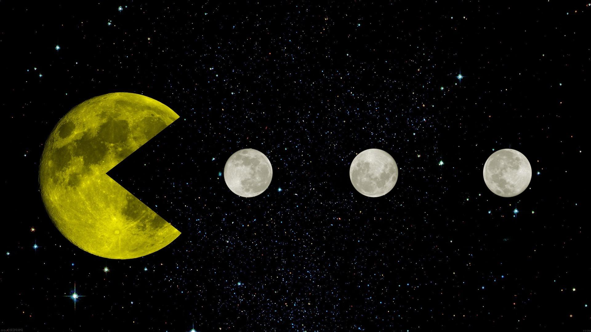 Pac Man, Yellow, Space, Moon, Moon, Stars, Black, Retro