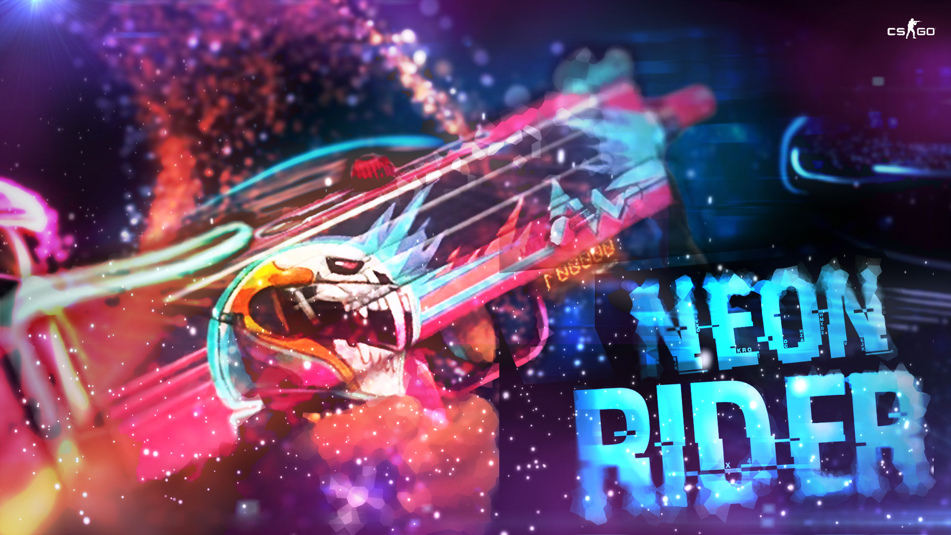 MAC-10 Neon Rider skin shown in Chinese CSGO