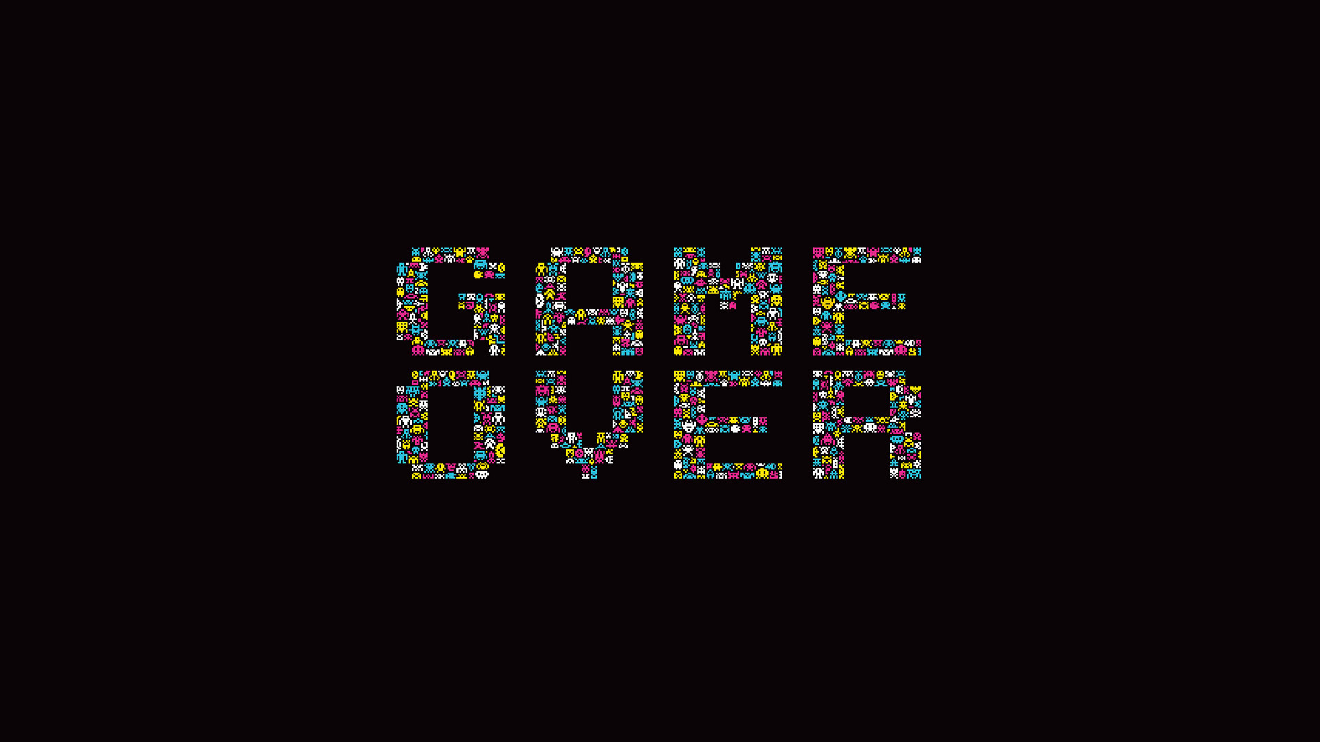Retro Games Simple Background Space Invaders Typography Video Games .
