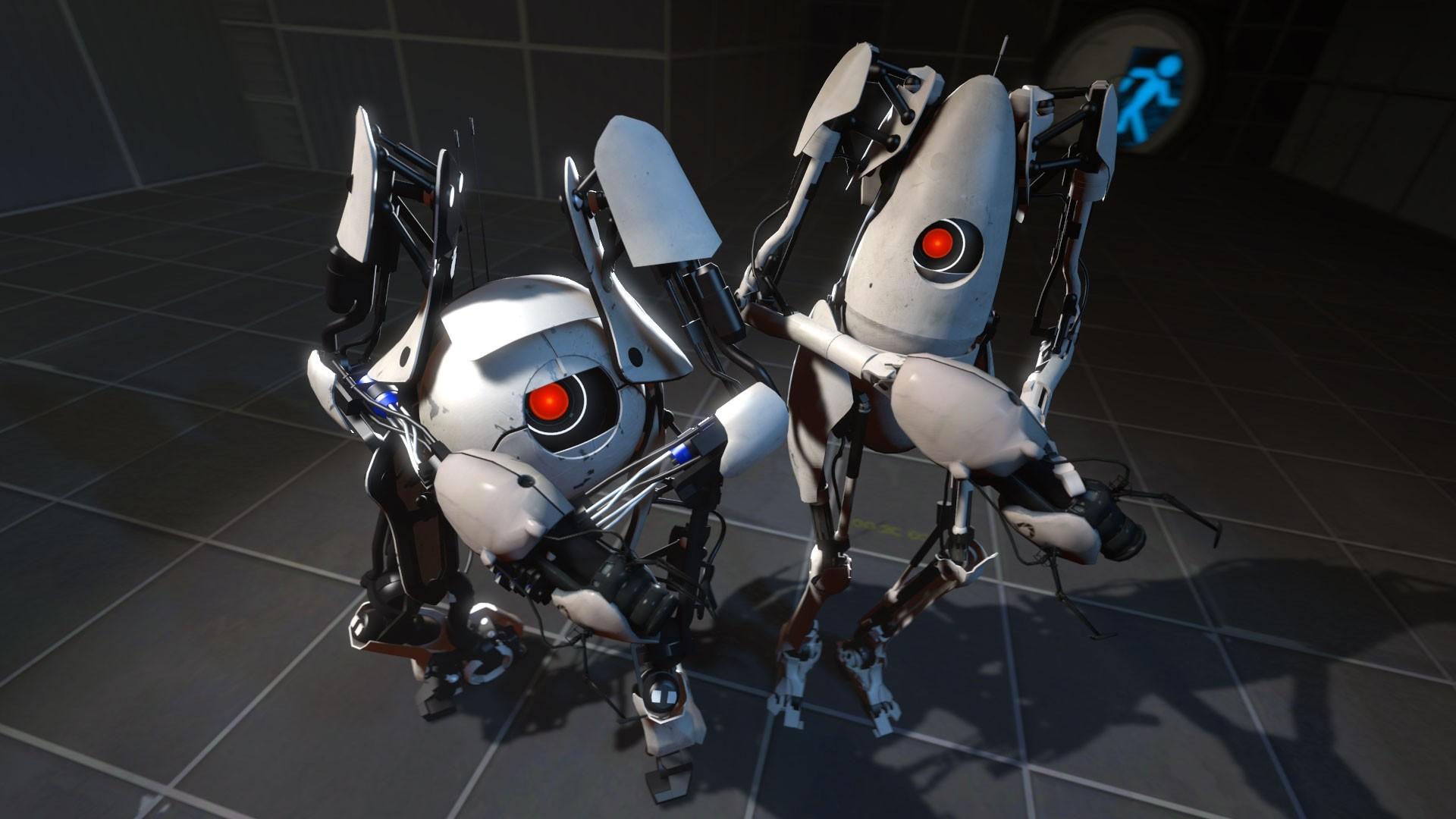Wallpaper portal 2, robots, gun, friends