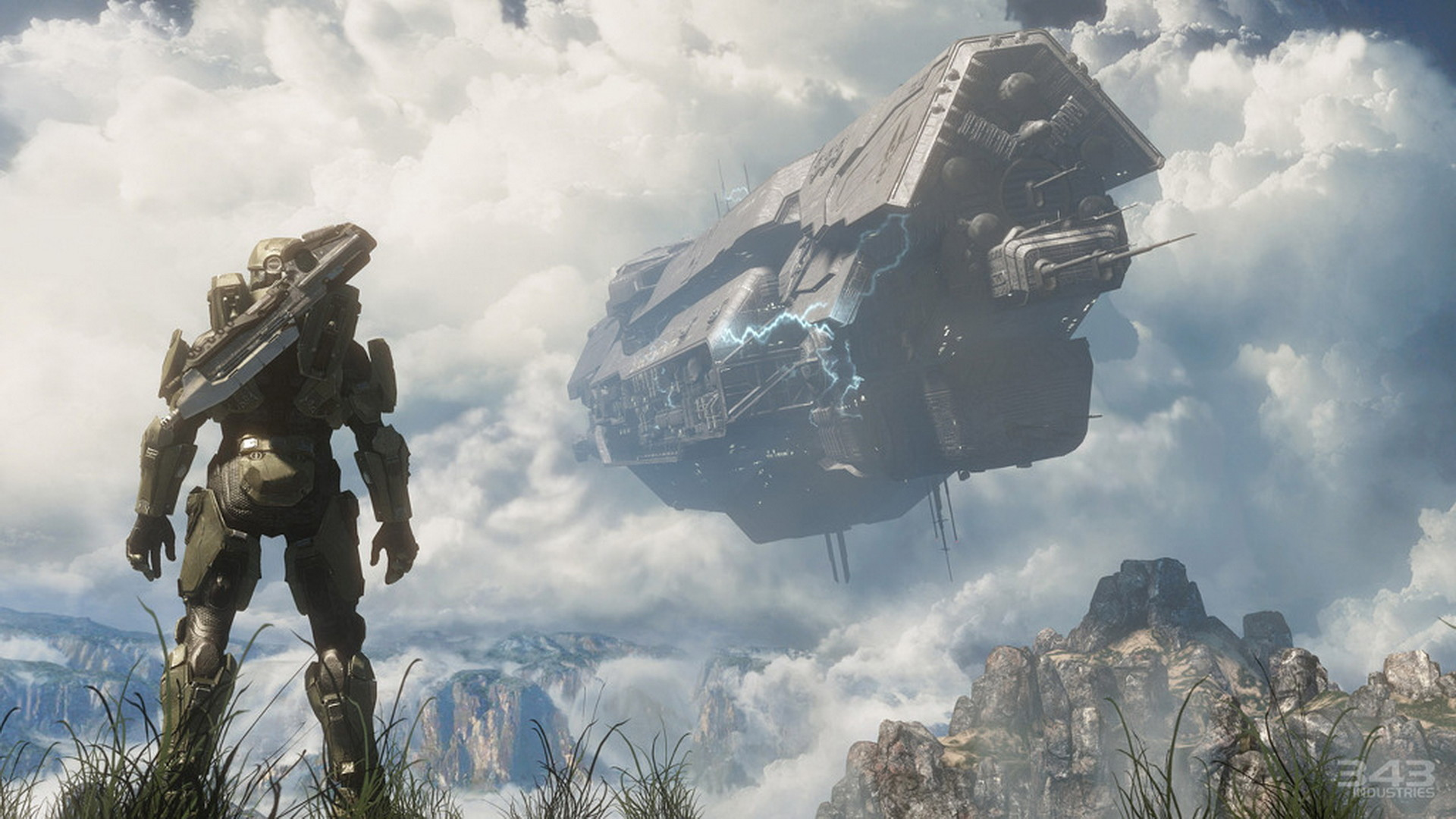 Halo 4 – Master Chief Spartan – UNSC ship crashing