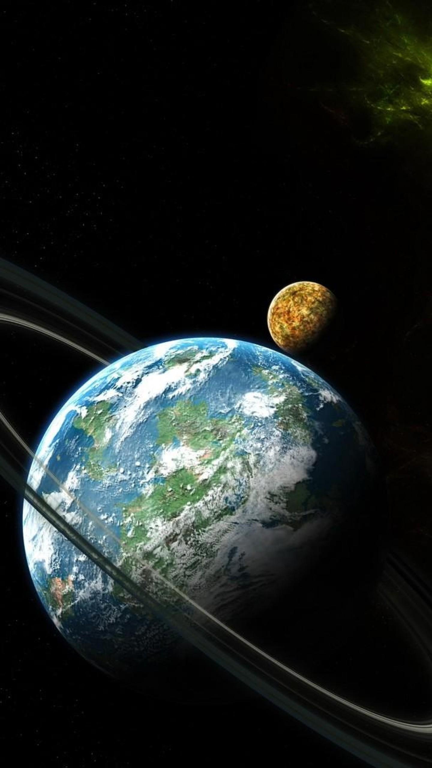 Wallpaper planet, ring, space, nebula