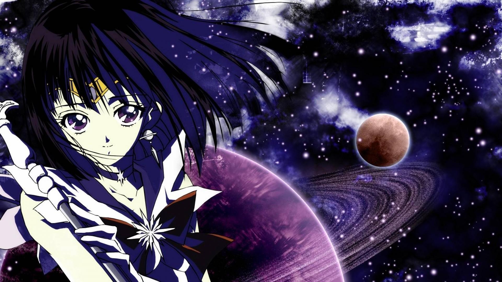 Preview wallpaper sailor moon, tomoe hotaru, girl, space, stick 1920×1080