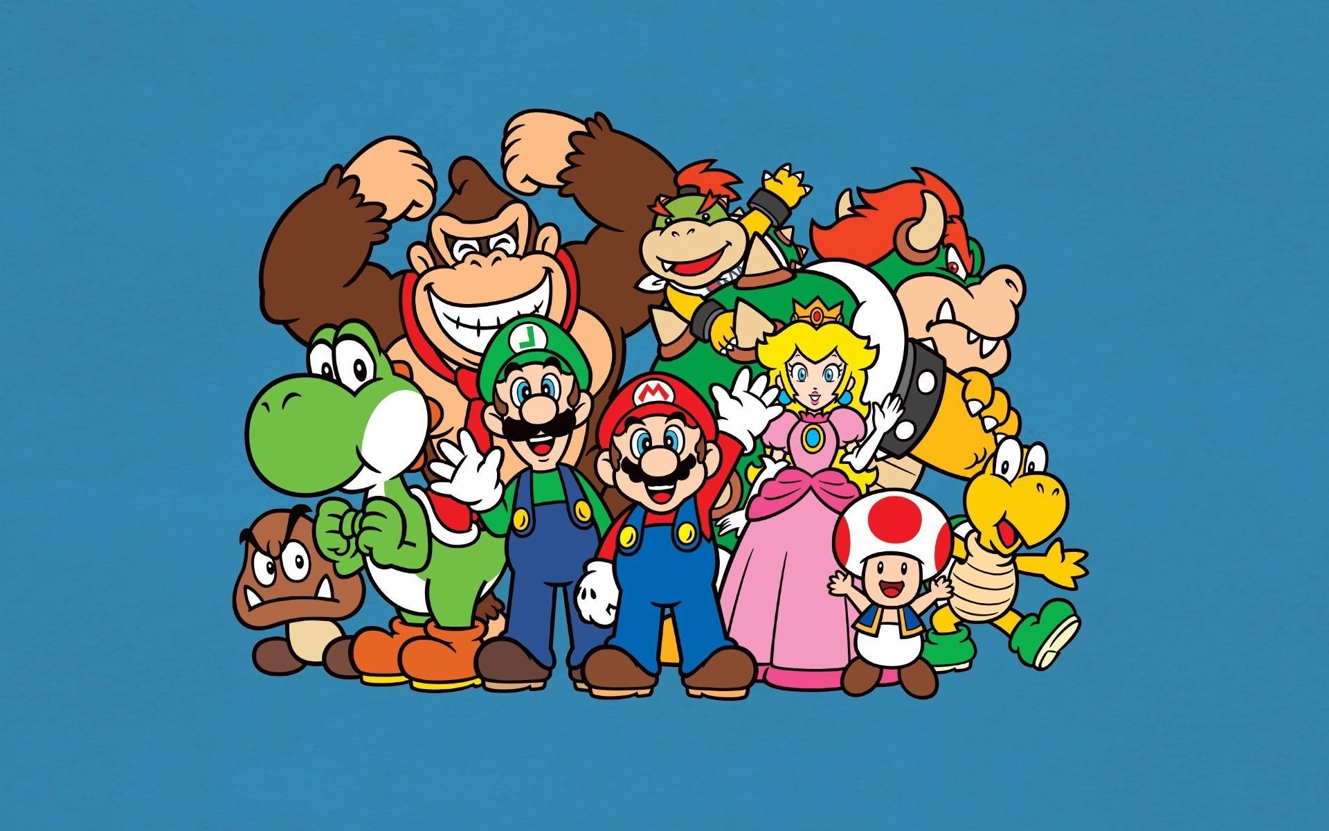 Mario Bros., Luigi, Yoshi, Princess Peach, Donkey Kong, Toad (character),  Video Games, Nintendo, Minimalism Wallpapers HD / Desktop and Mobile  Backgrounds