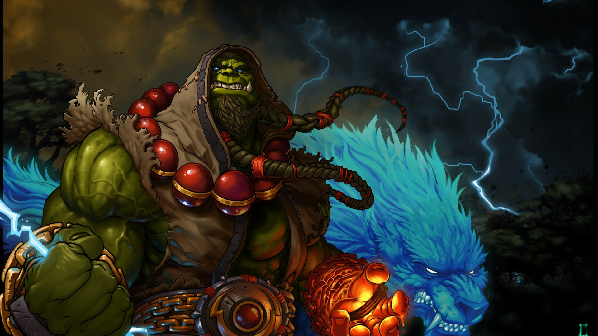 Preview wallpaper world of warcraft, shaman, thrall, blizzard, lightning,  orc 1920×1080
