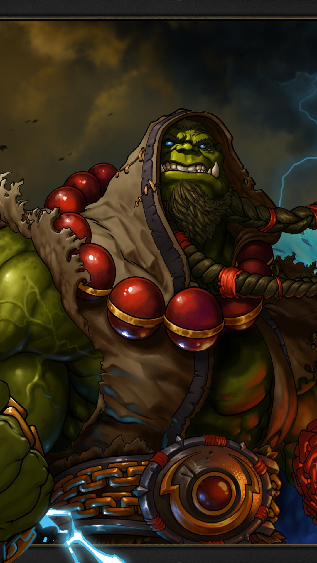 Preview wallpaper world of warcraft, shaman, thrall, blizzard, lightning,  orc 1080×1920