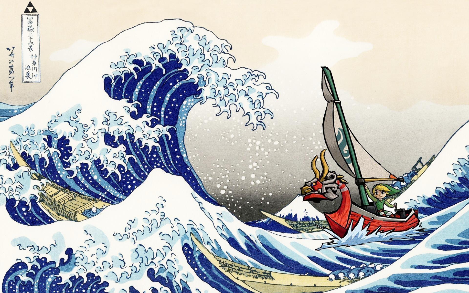 Made this little wallpaper: Hokusai + Wind Waker …