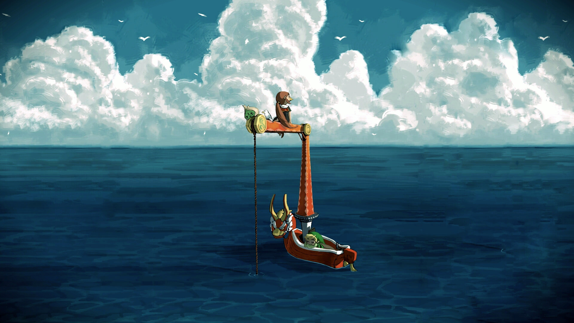 A wallpaper from Legend of Zelda: Wind Waker that I've been using on a  desktop for several years now. Thought I'd upload here, both as a backup  and for …