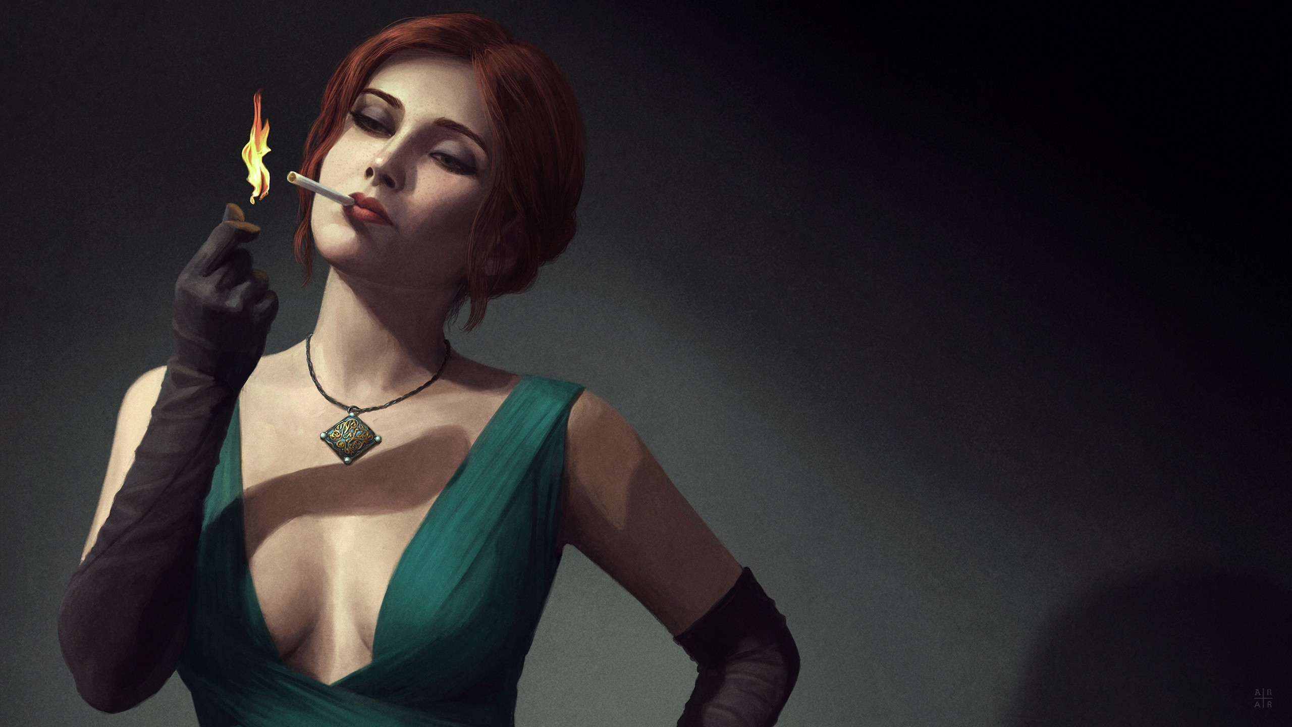 Triss Merigold, The Witcher, The Witcher 3: Wild Hunt, Artwork, Digital  art, Noir Wallpapers HD / Desktop and Mobile Backgrounds