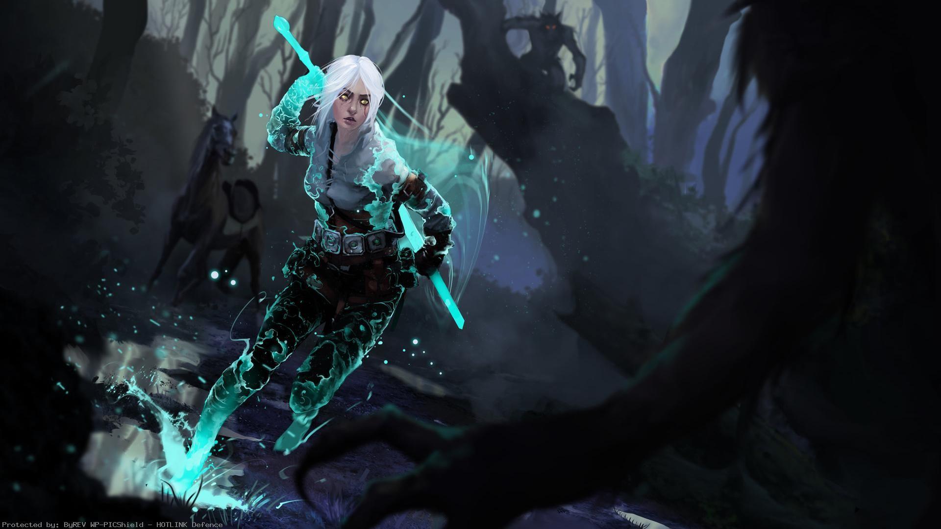 the-witcher-ciri-spell-splash-forest-1920×1080-wallpaper-