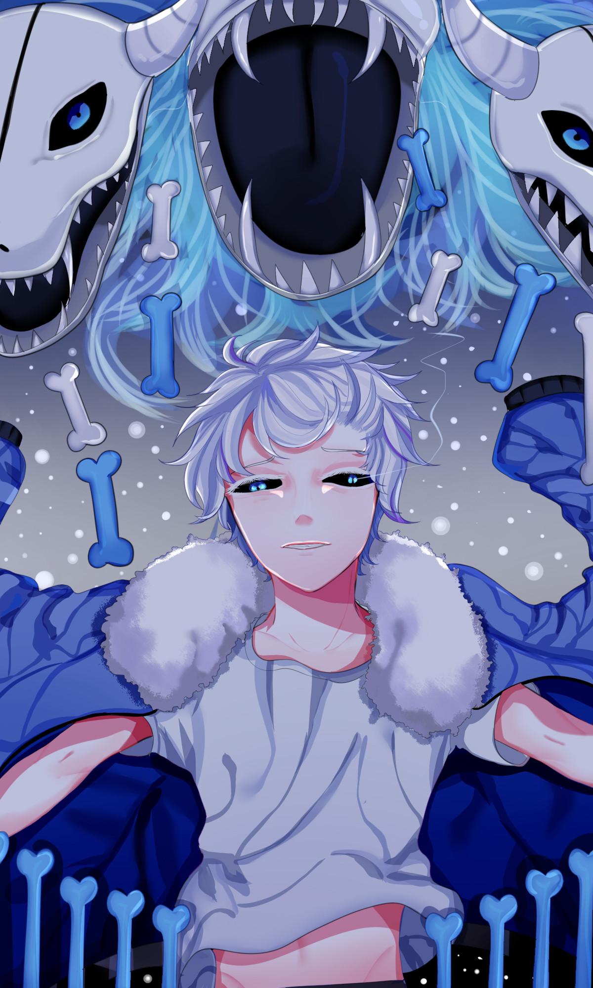 Tags: Anime, Pixiv Id 15879913, Undertale, Sans, Colored Eyelashes, Parka