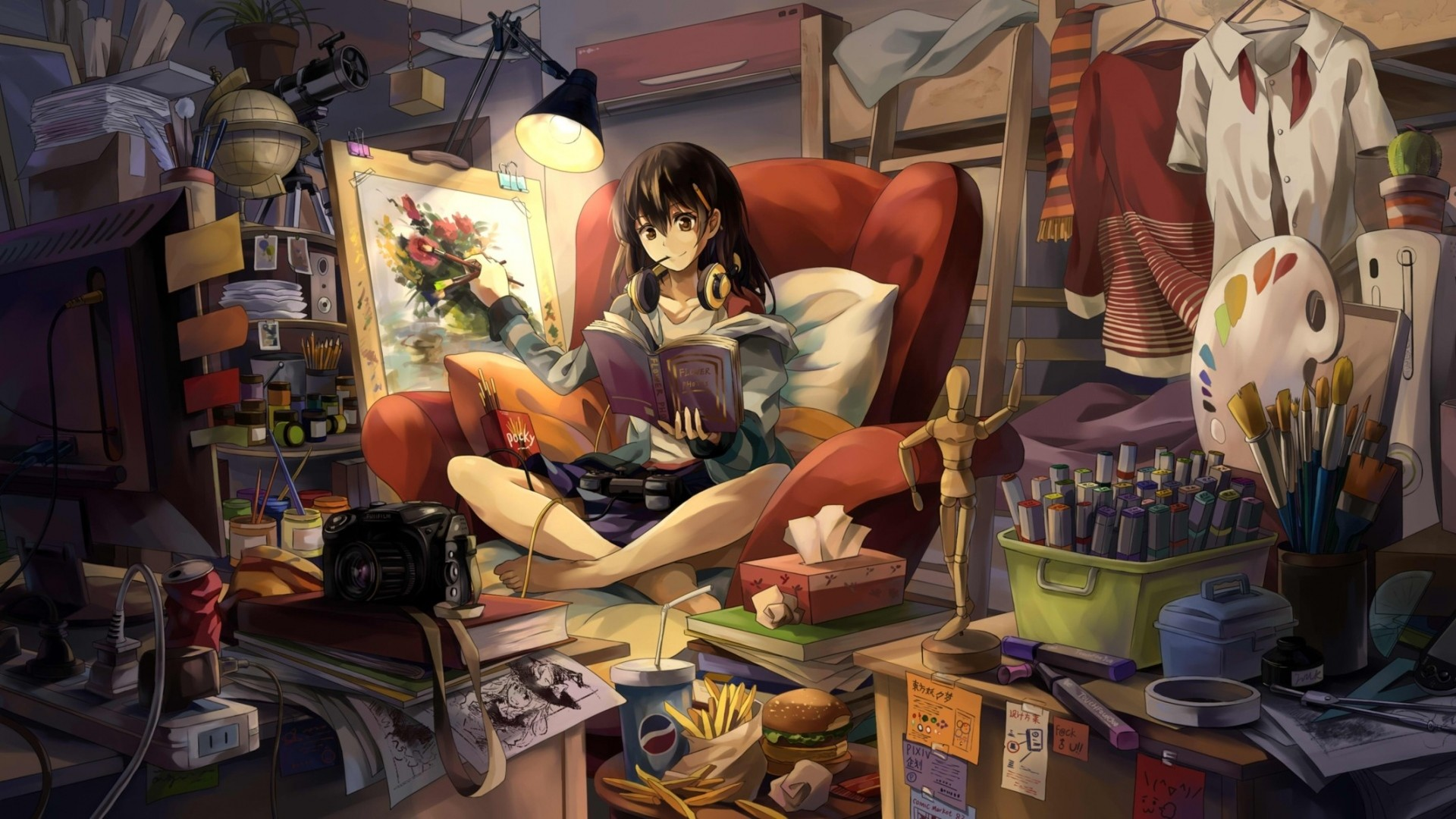 Wallpaper neko, yanshoujie, room, girl, graphic, hand, headphones,