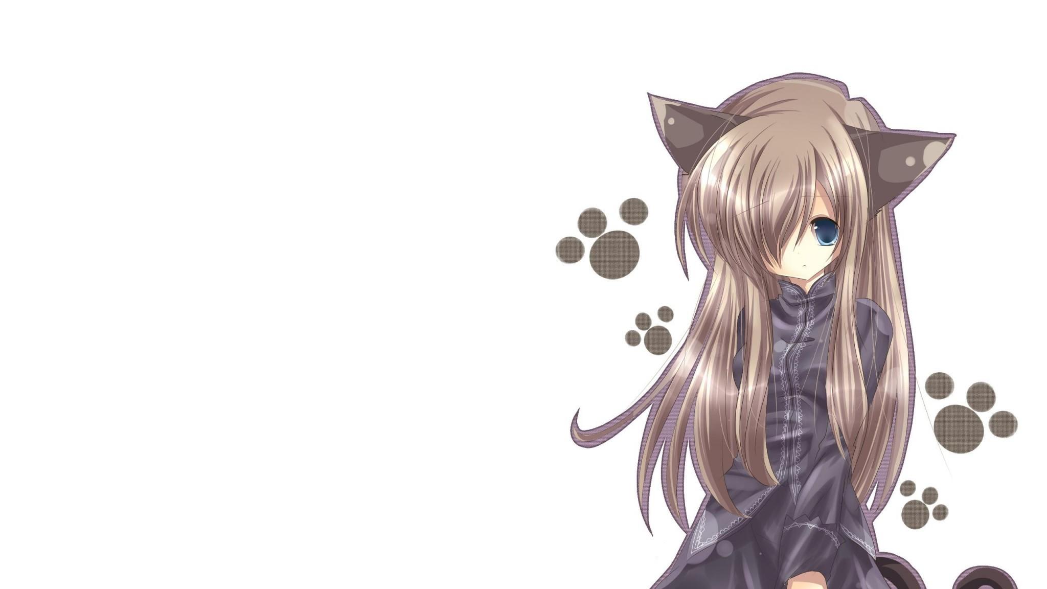 Preview wallpaper cat girl, nekomimi, art, anime, girl 2048×1152
