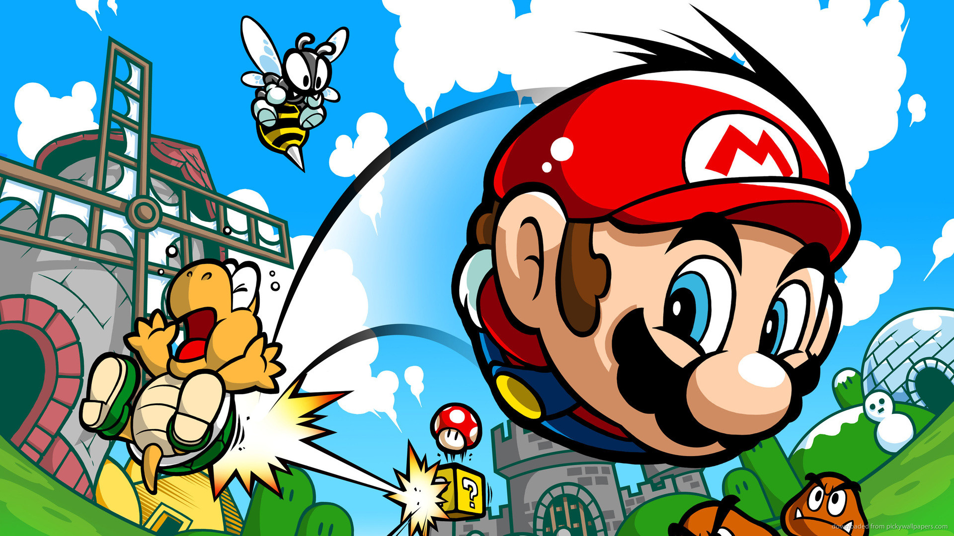Super Mario Hitting A Turtle for 1920×1080