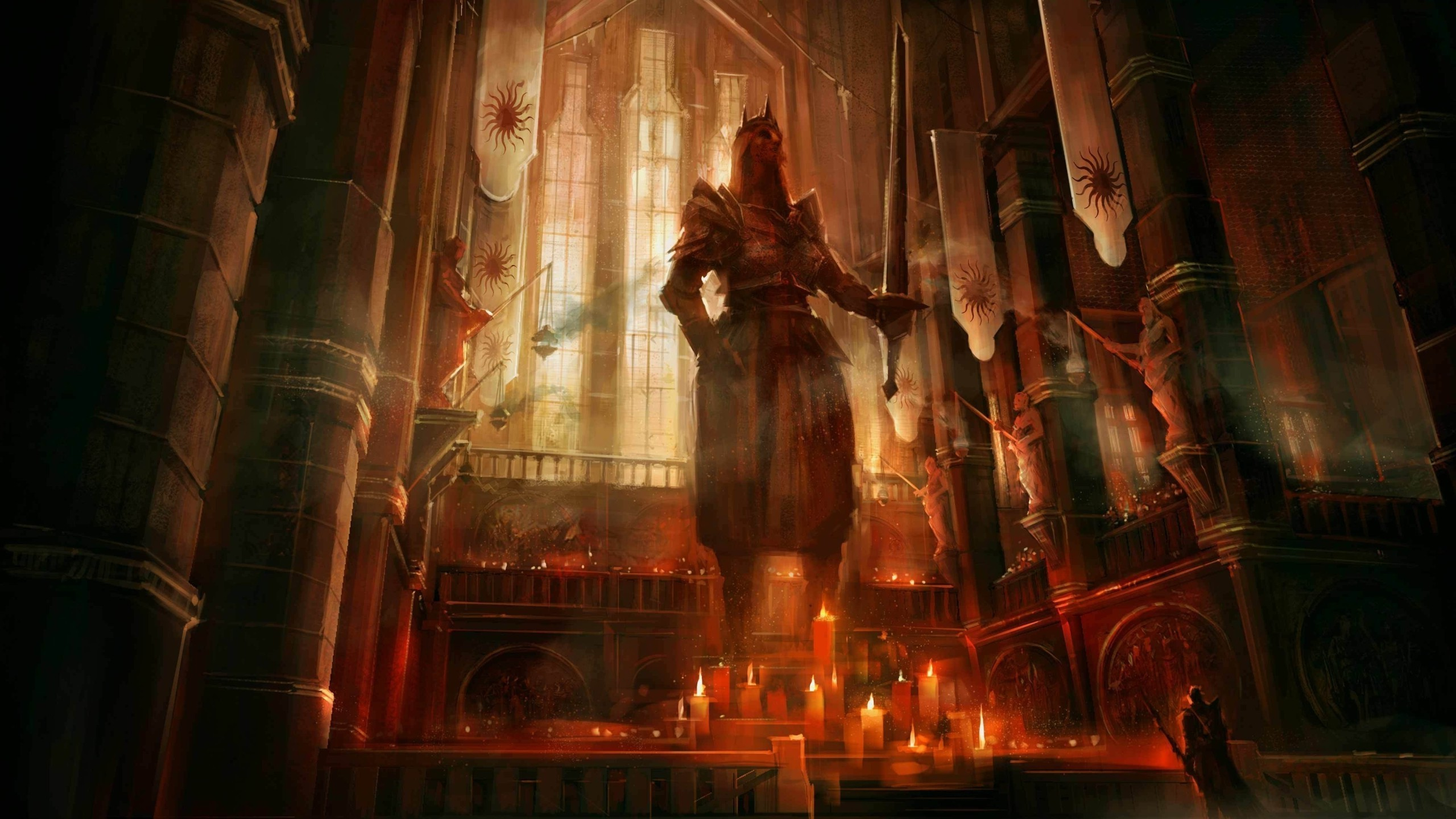 Dragon Age II, Dragon Age, Fantasy Art, Concept Art, Video Games, Candles,  Statue, Temple Wallpapers HD / Desktop and Mobile Backgrounds