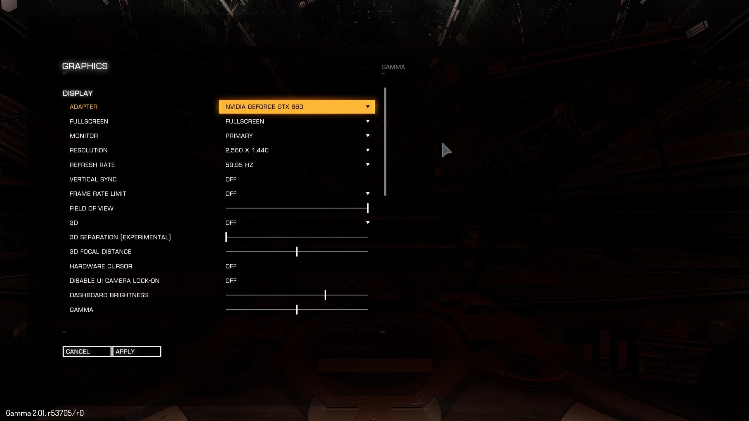 Elite Dangerous Options Menu part 1