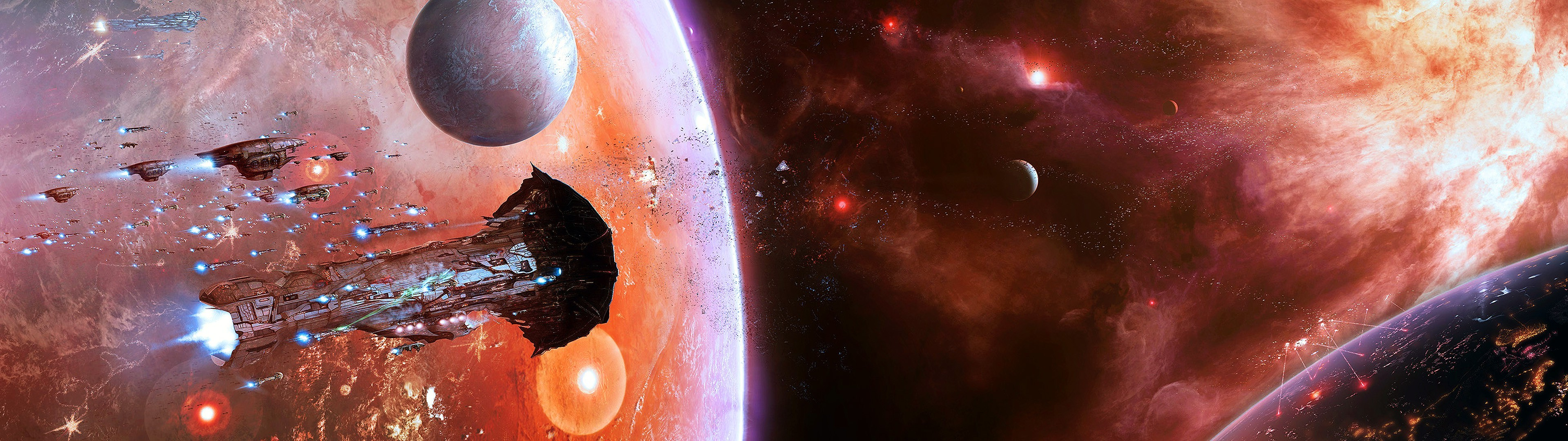 space, EVE Online, Multiple Display, Spaceship, Amarr Wallpapers HD /  Desktop and Mobile Backgrounds