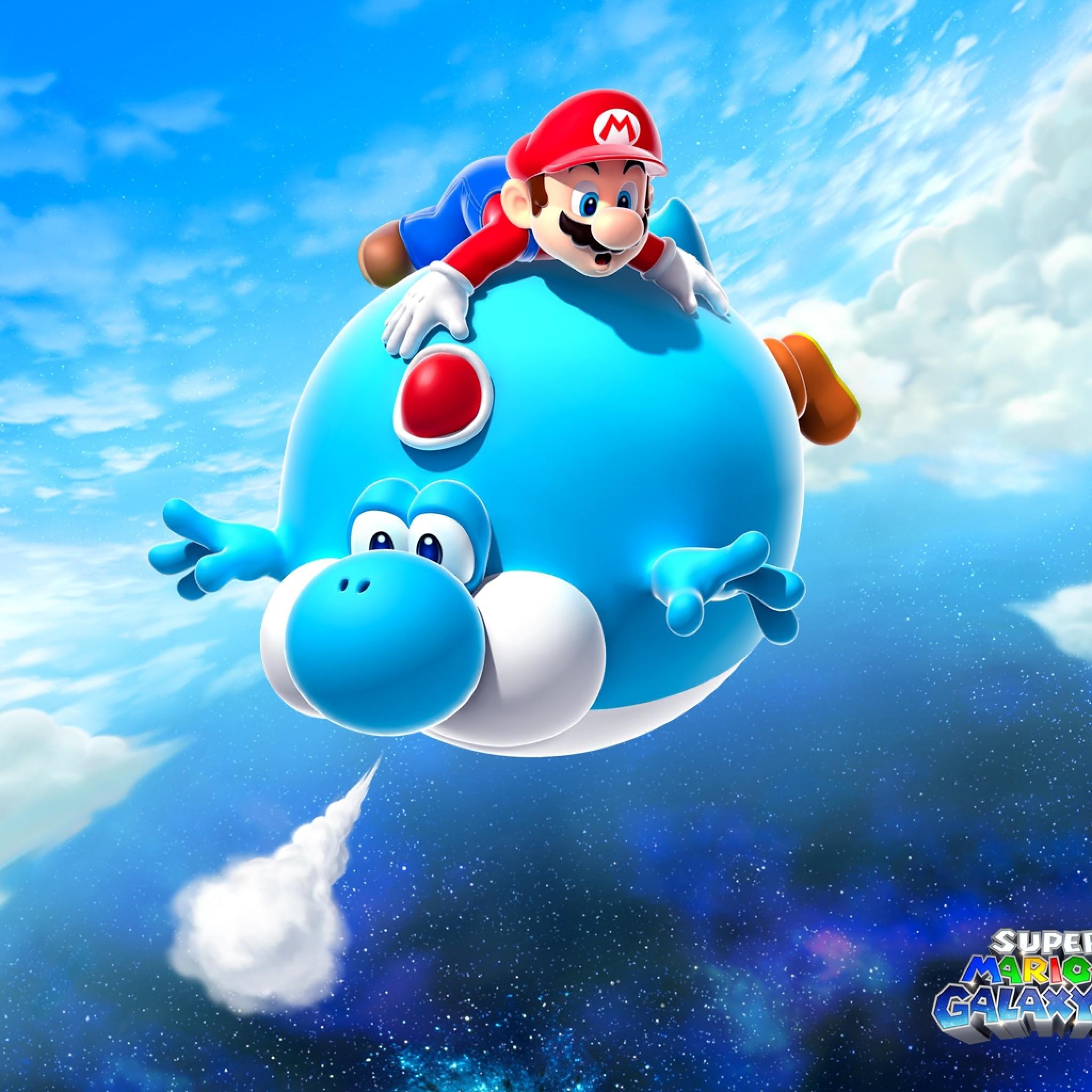 Preview wallpaper mario, air balloon, yoshi, blue, super mario galaxy 2  2048×2048
