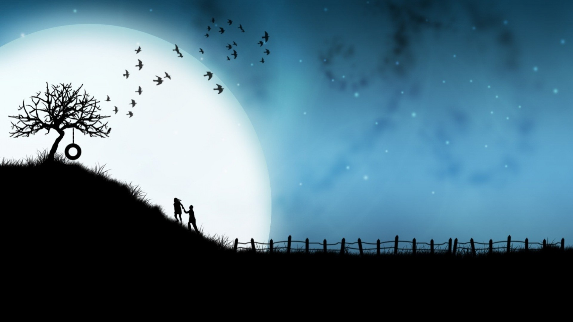 Preview wallpaper steam, tree, love, hugs, birds, night, silhouettes  1920×1080