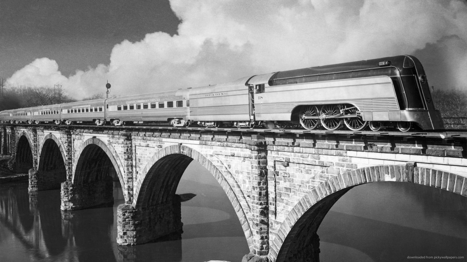 Futuristic steam train on a bridge for 1920×1080