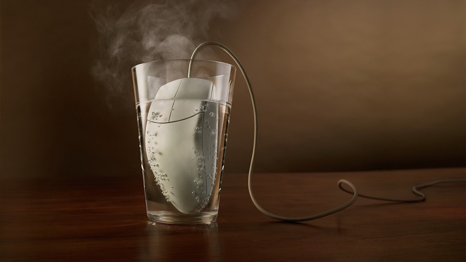 Wallpaper glass, steam, mouse, water, table