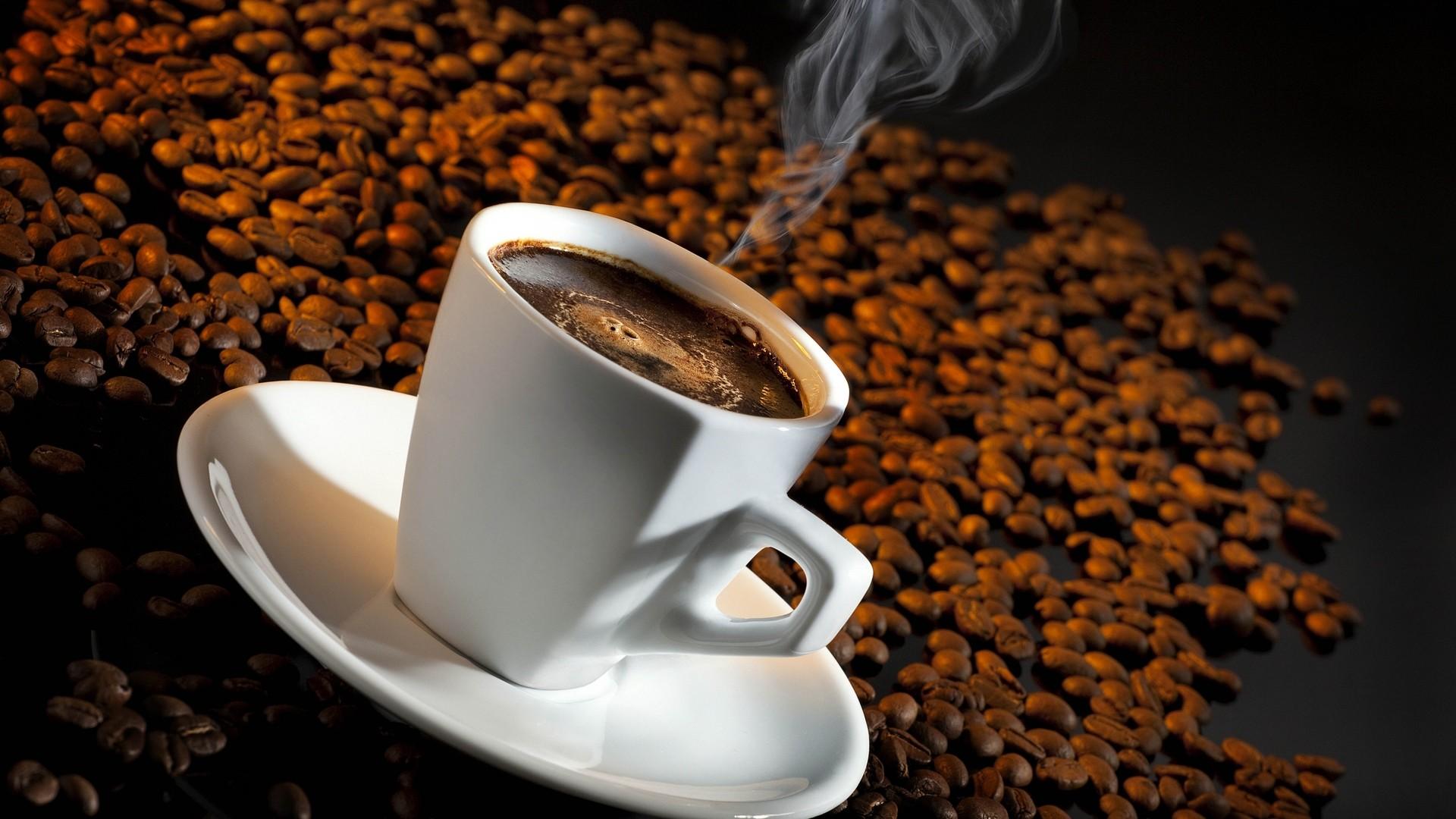 Wallpaper coffee, cup, steam, grain, saucer