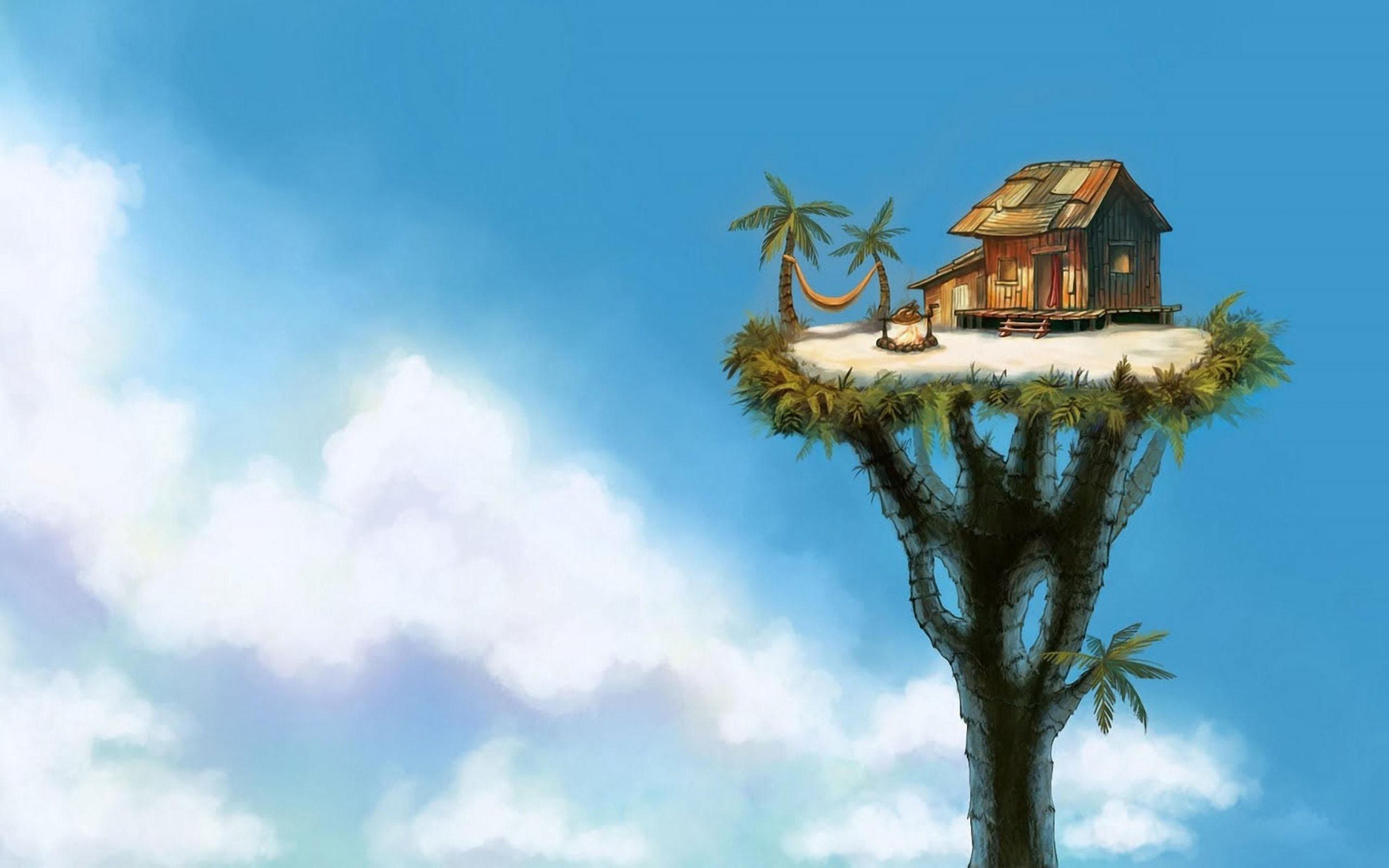 The Tree House Wallpaper For Desktop Of Cool Art 4k. small apartment living  room. …